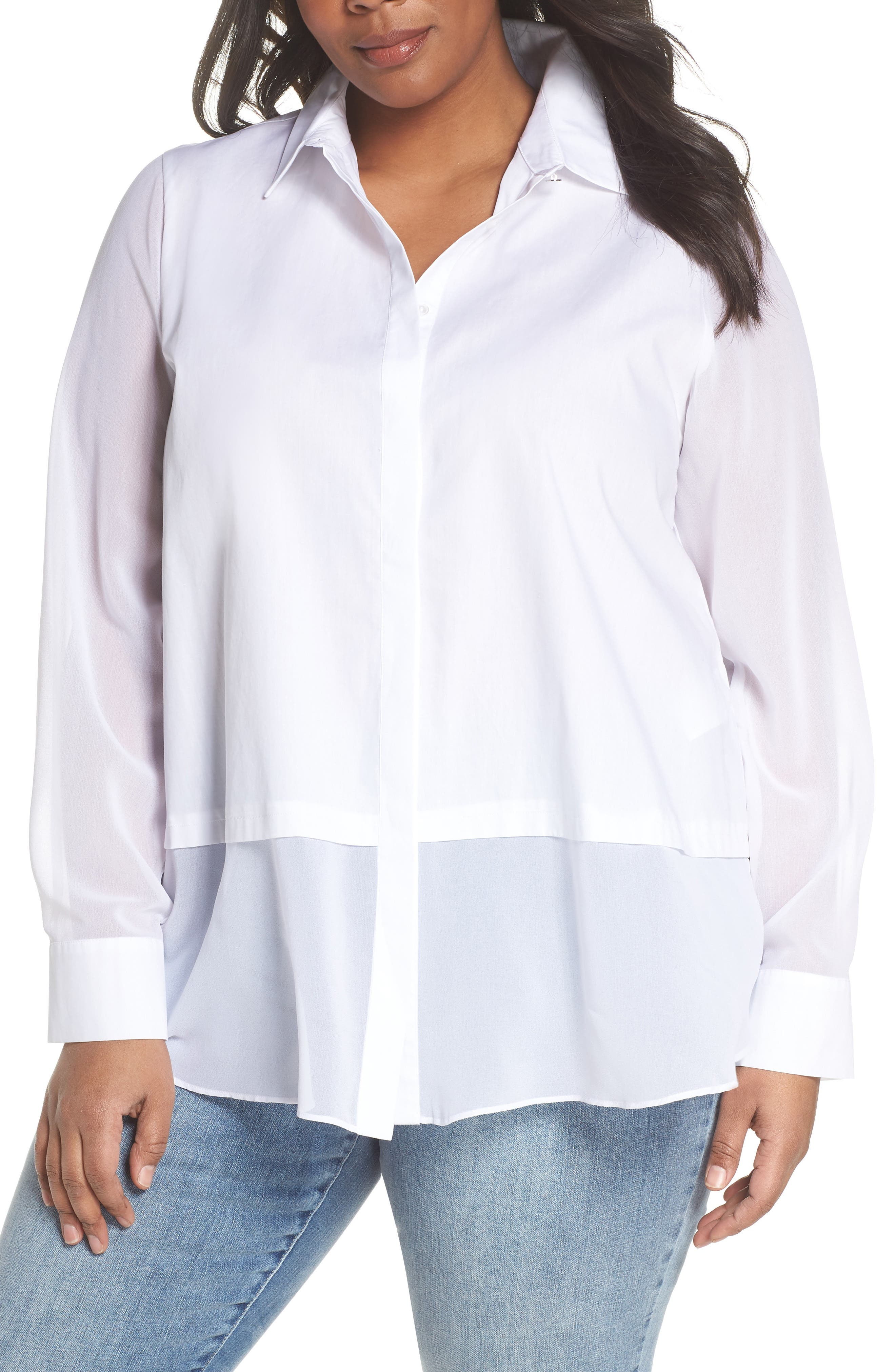 Persona by Marina Rinaldi Mixed Media Shirt (Plus Size)