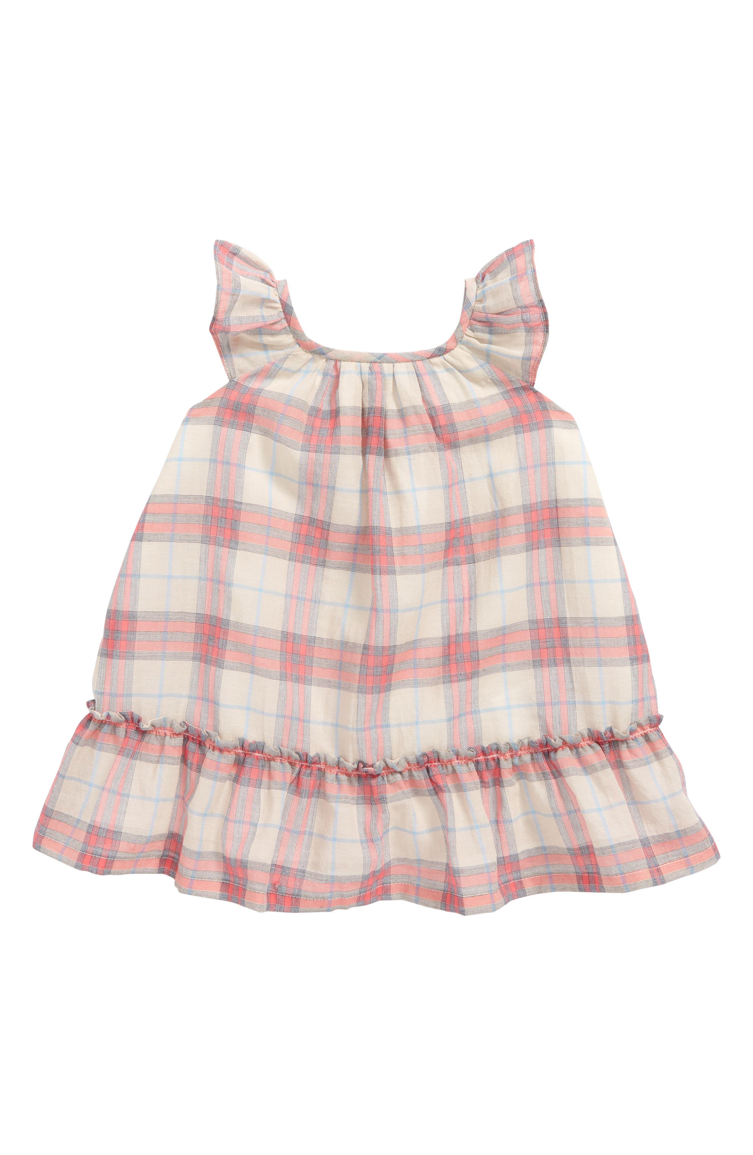 Tania Check Dress,                             Main thumbnail 1, color,                             Bright Coral Pink