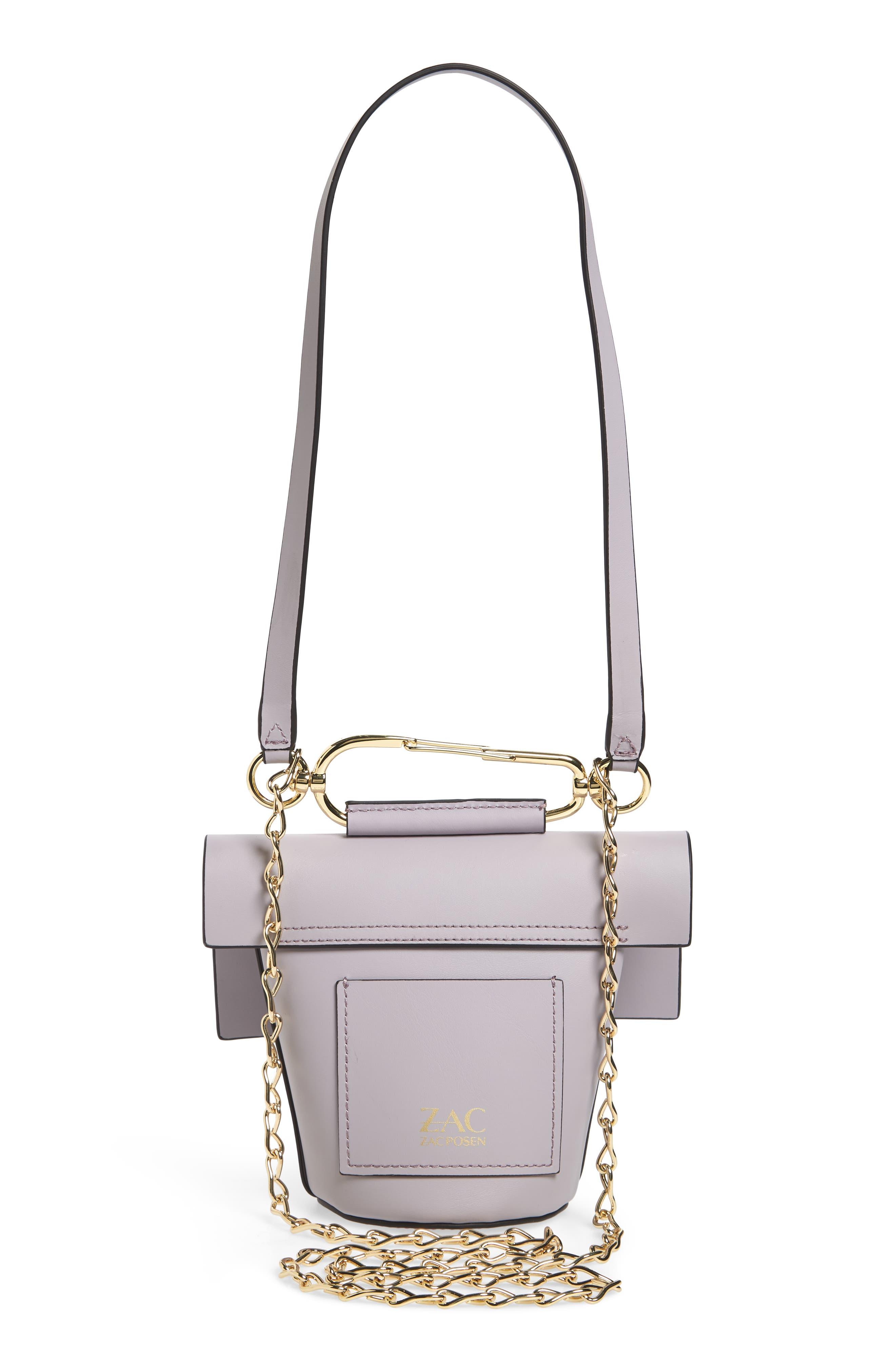 Belay Chain Calfskin Leather Crossbody Bag,                             Alternate thumbnail 3, color,                             Violet