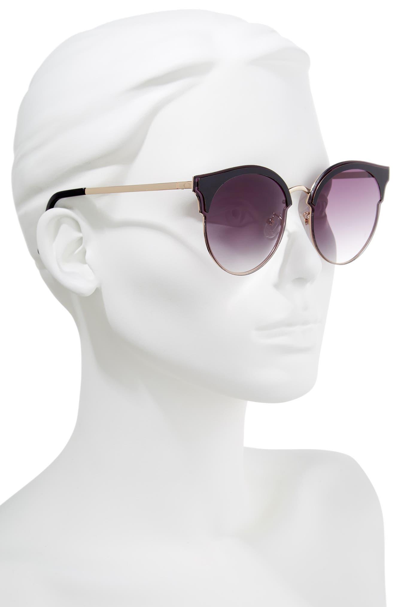 Mia 60mm Sunglasses,                             Alternate thumbnail 2, color,                             Matte Black