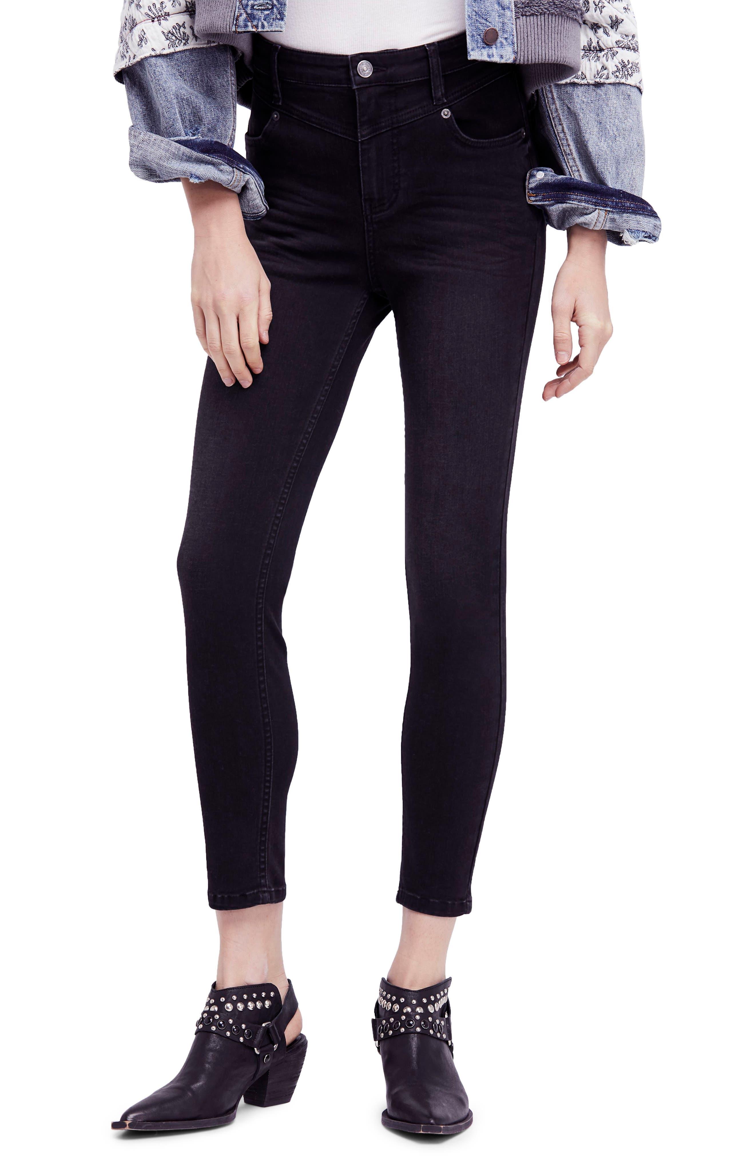 Mara Skinny Jeans,                         Main,                         color, Black