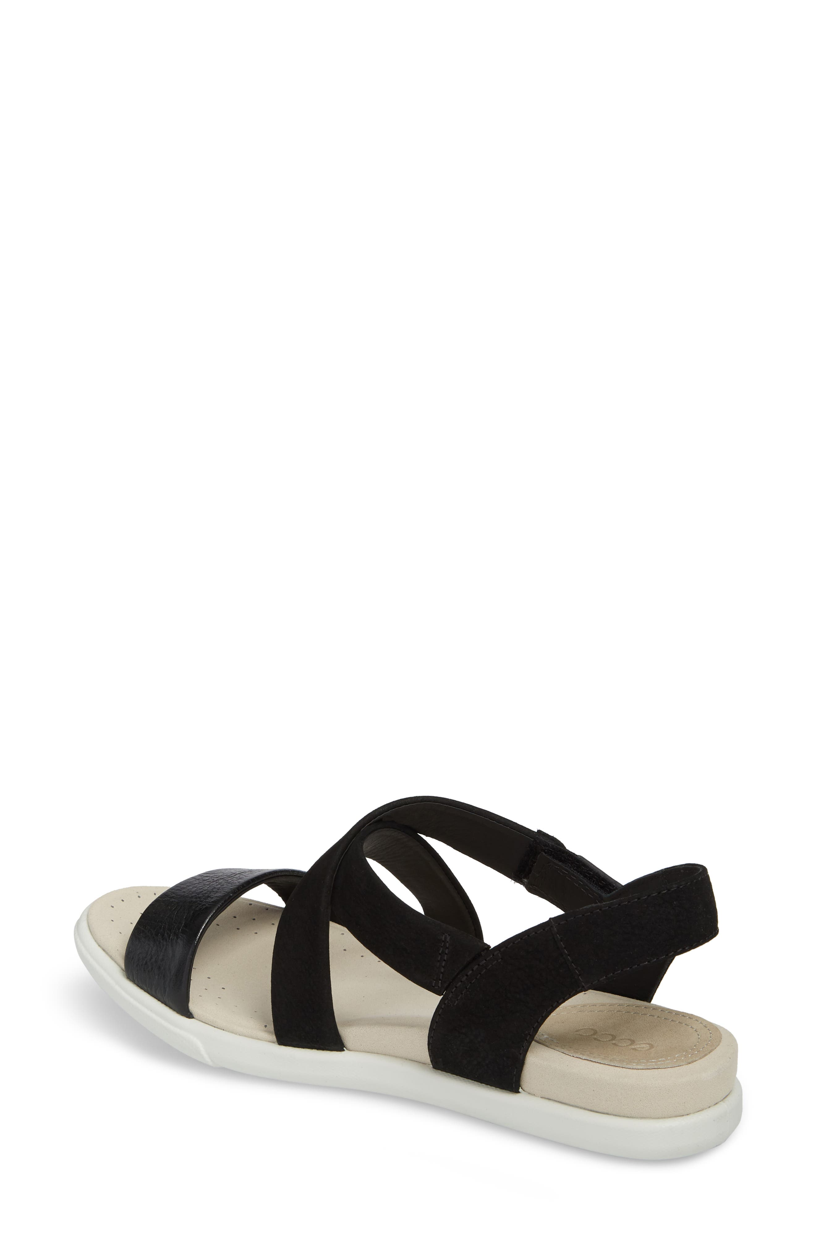 Damara Cross-Strap Sandal,                             Alternate thumbnail 2, color,                             Black Leather