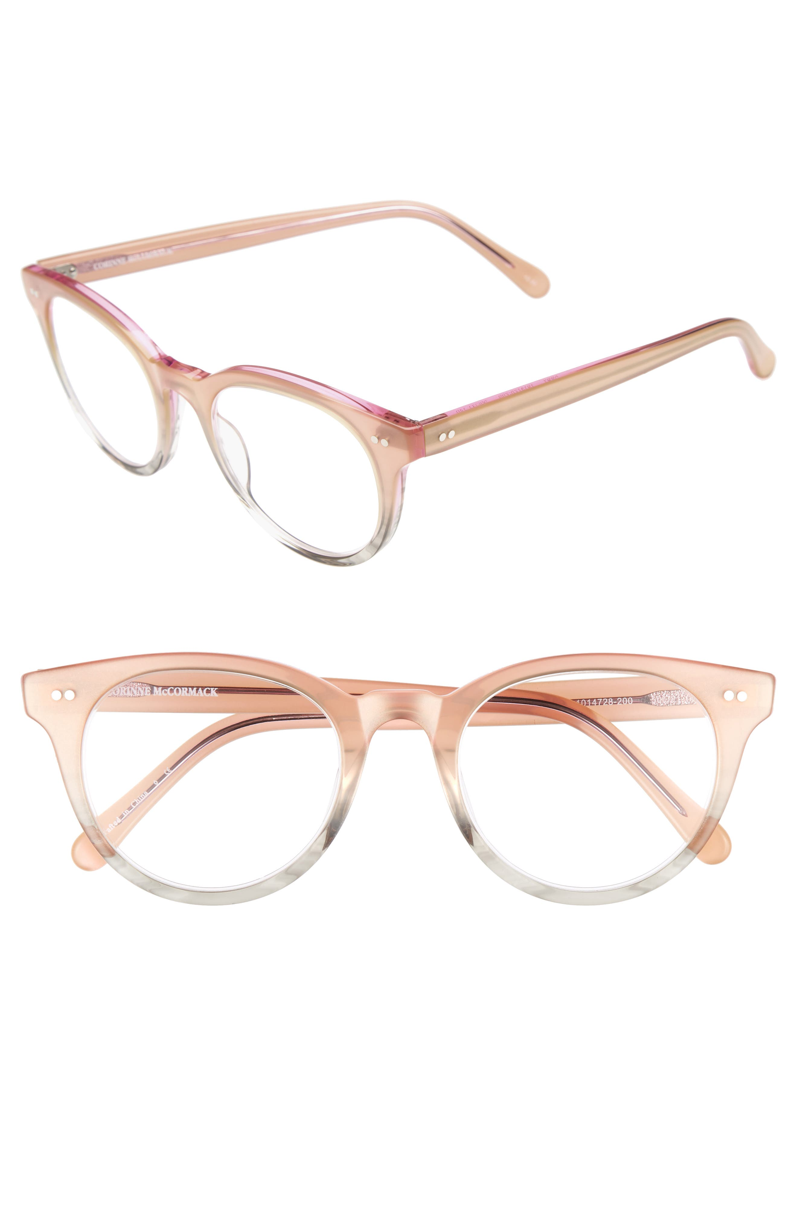 Abby 50mm Reading Glasses,                         Main,                         color, Pink/ Grey