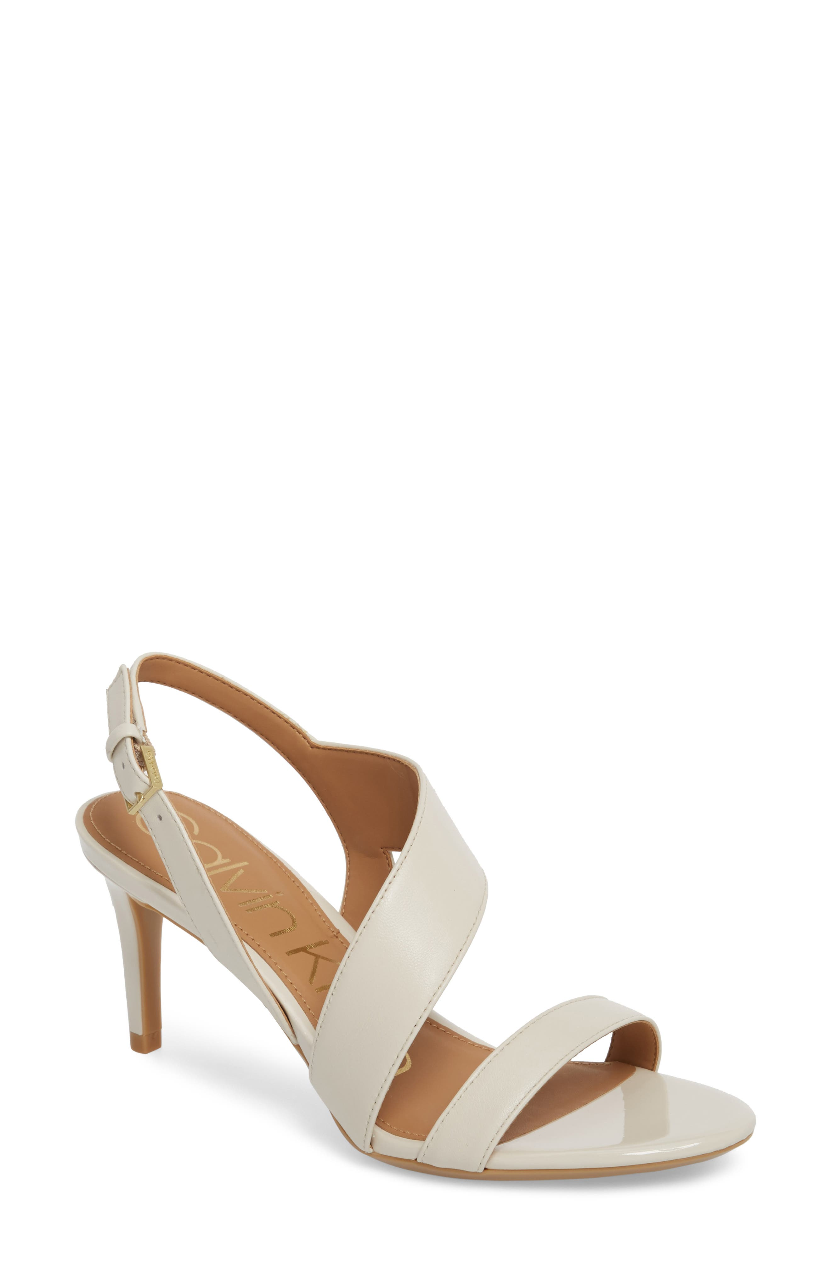 Lancy Sandal,                         Main,                         color, Soft White Leather