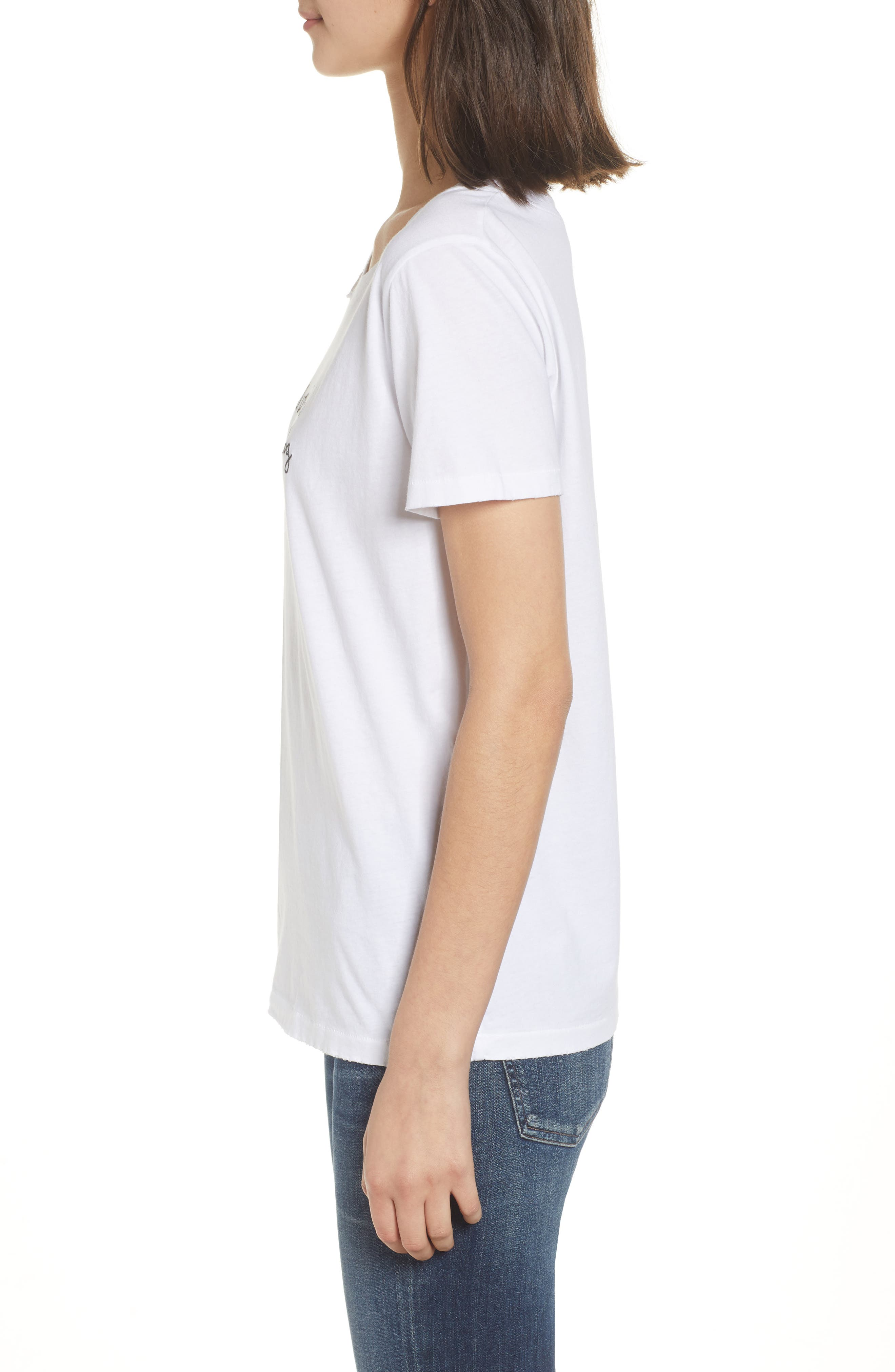 Harlow Embroidered Tee,                             Alternate thumbnail 3, color,                             White
