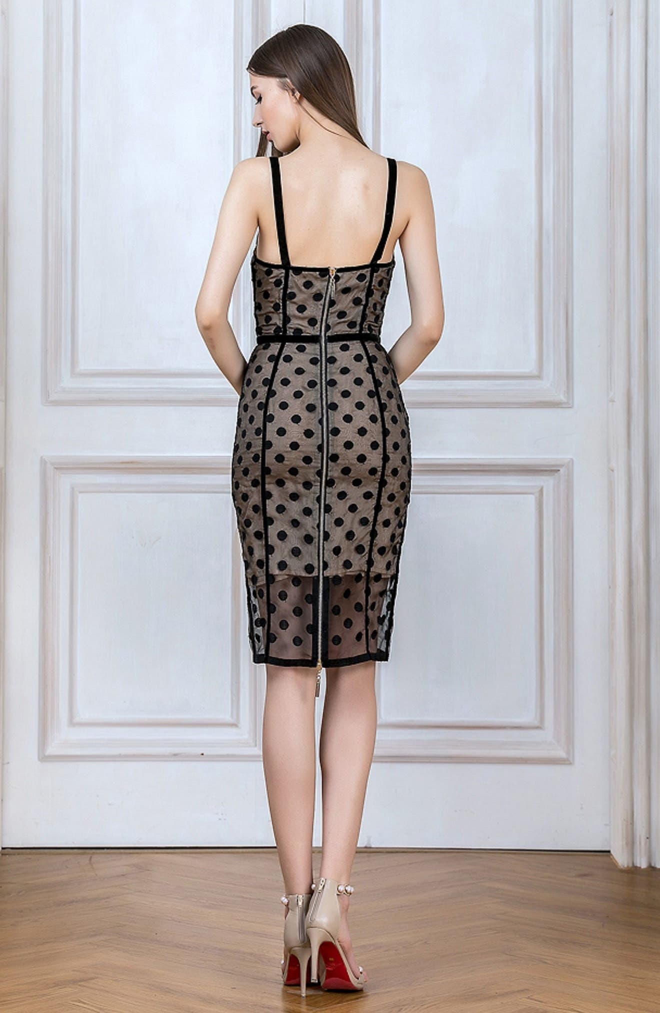 Isabella Noir Dot Embroidered Body-Con Dress,                             Alternate thumbnail 6, color,