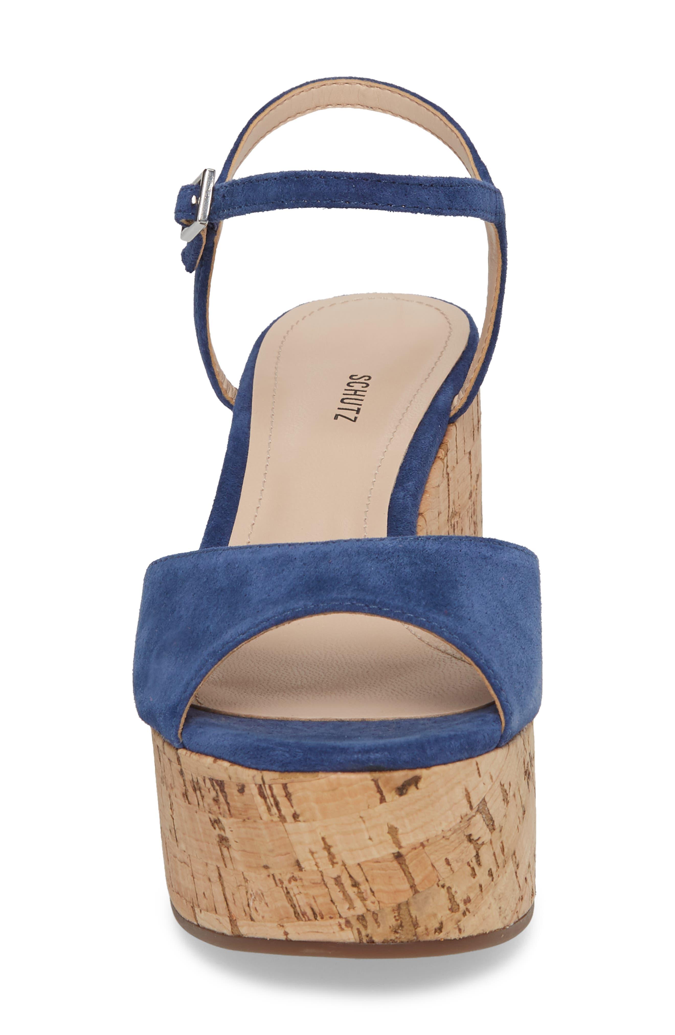 Heloise Platform Wedge Sandal,                             Alternate thumbnail 4, color,                             Dress Blue