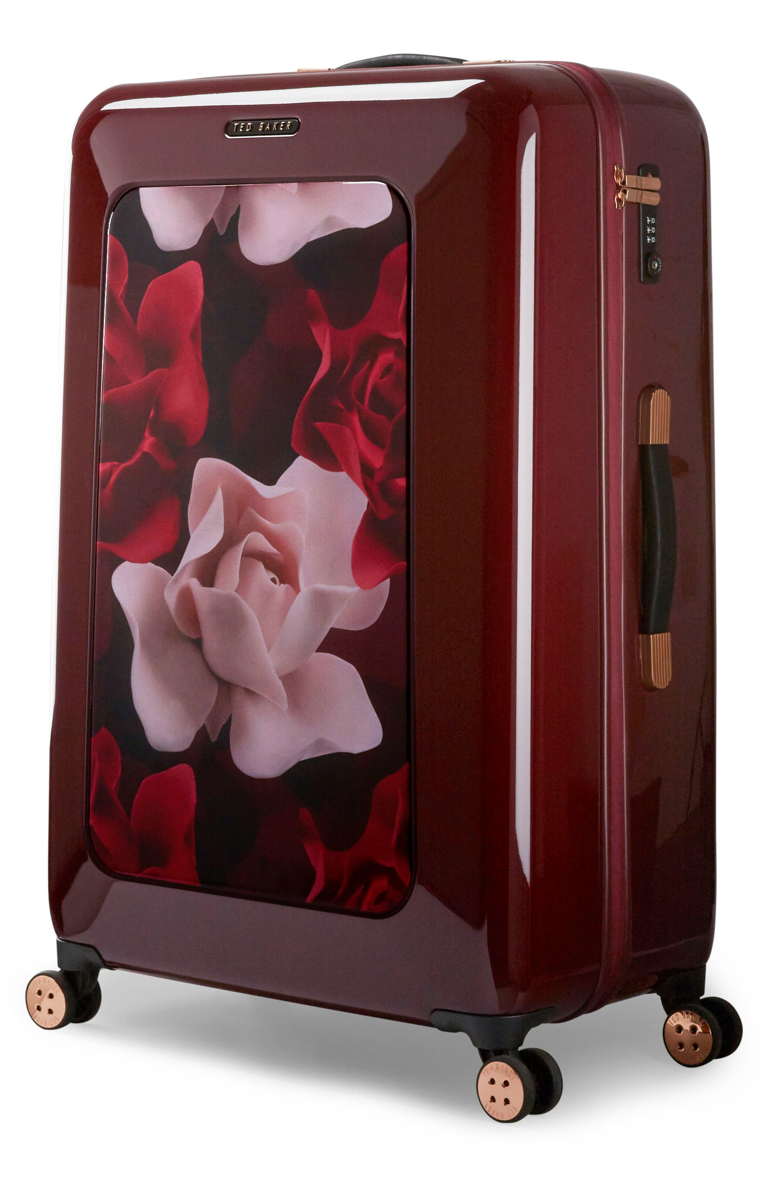 Large Porcelain Rose 31-Inch Hard Shell Spinner Suitcase,                             Alternate thumbnail 3, color,                             Burgundy