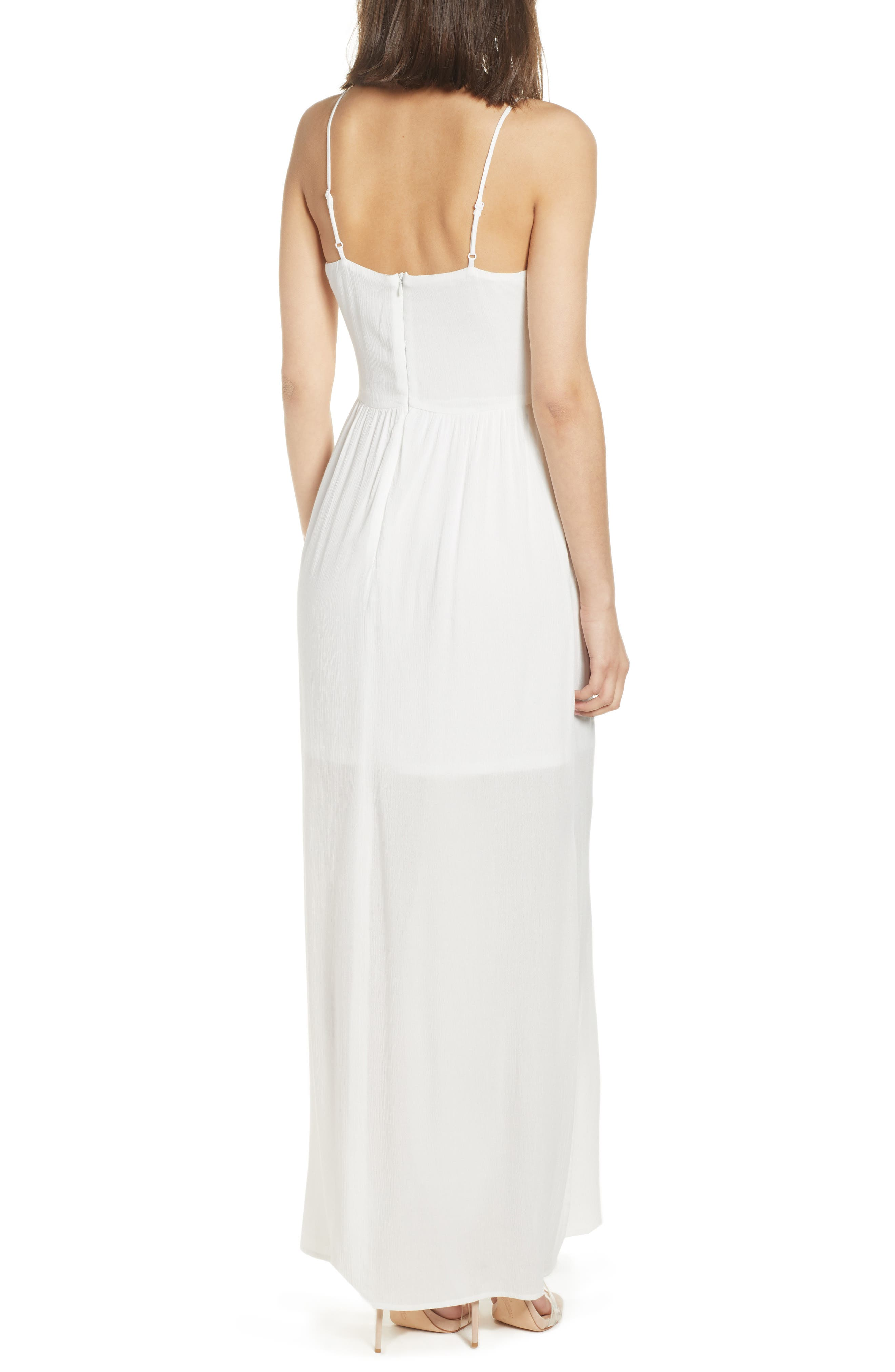 Tie Front Maxi Dress,                             Alternate thumbnail 2, color,                             Ivory