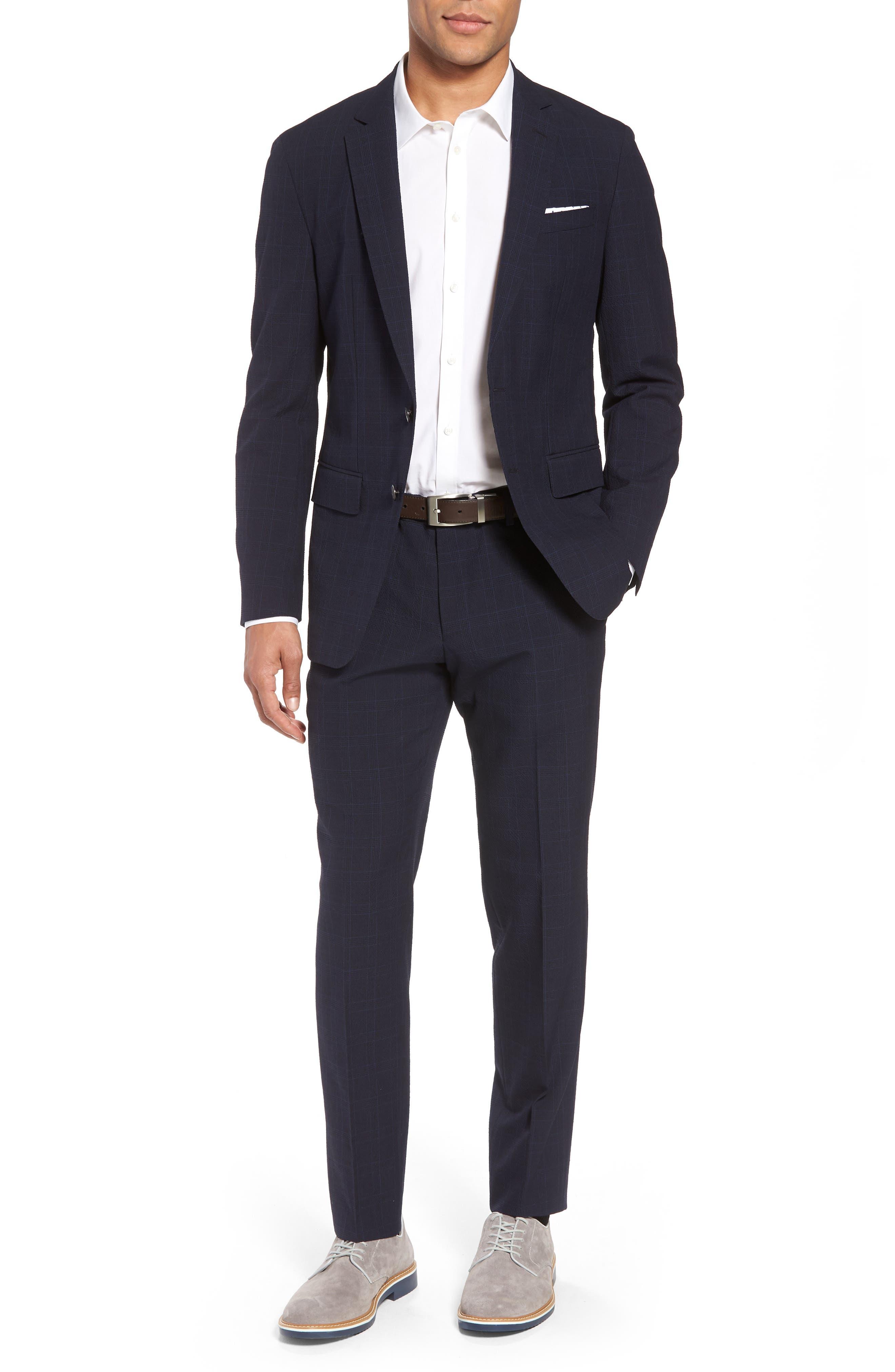 BOSS Helford/Gander Trim Fit Plaid Wool & Cotton Suit