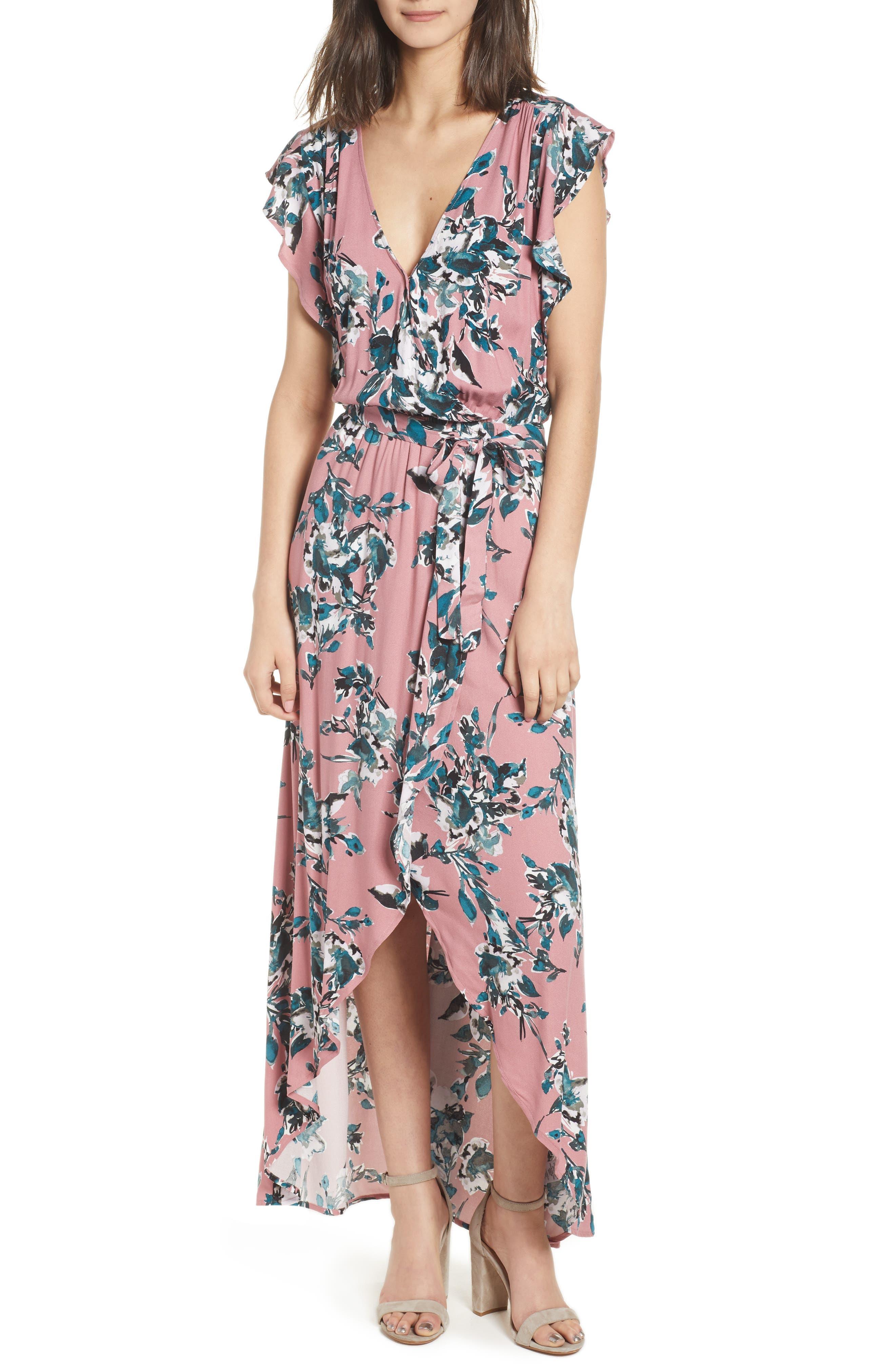 Floral Print Wrap Maxi Dress,                         Main,                         color, Rose Dust