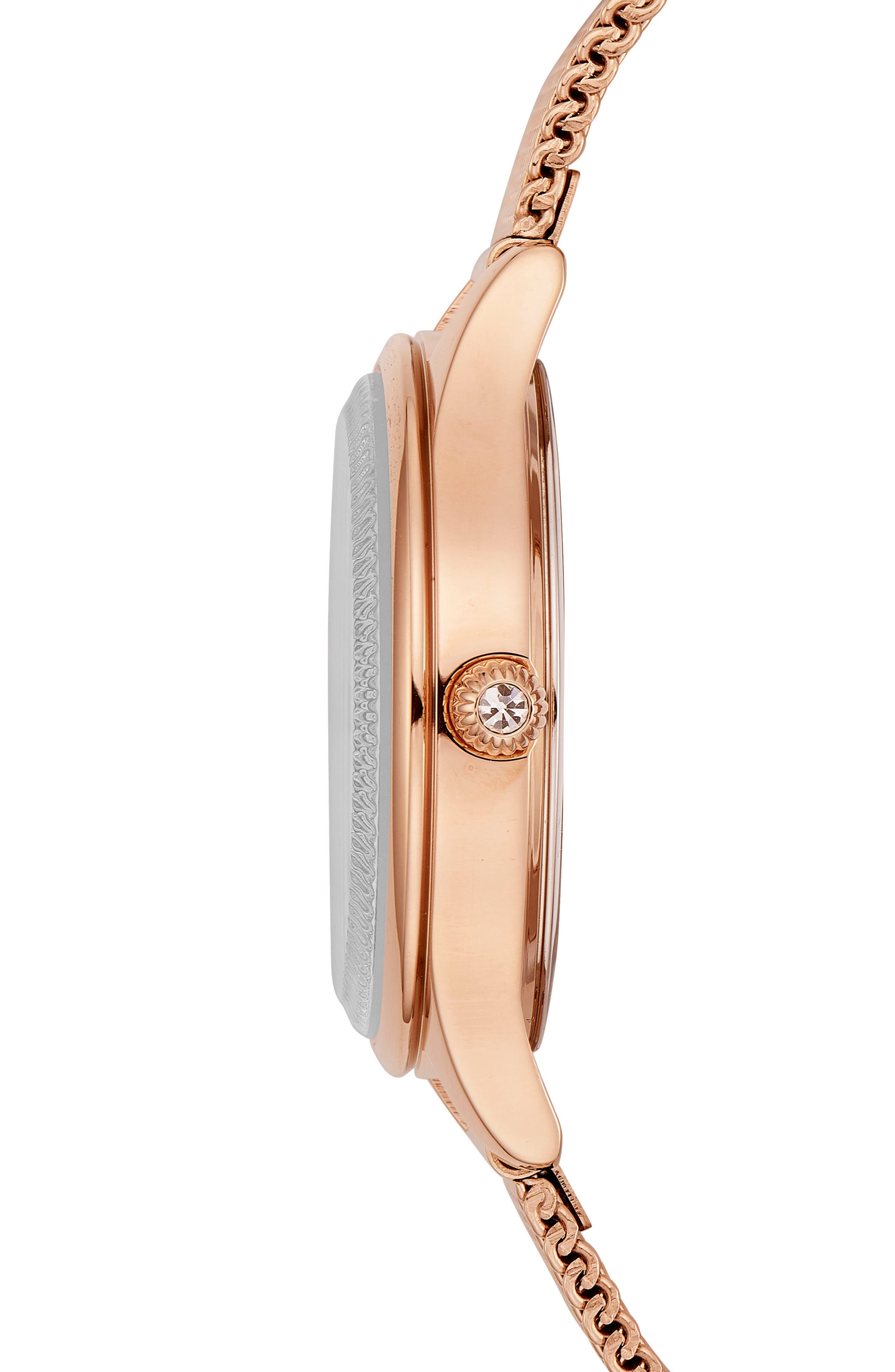 Zoe Mesh Strap Watch, 32mm,                             Alternate thumbnail 3, color,                             Rose Gold