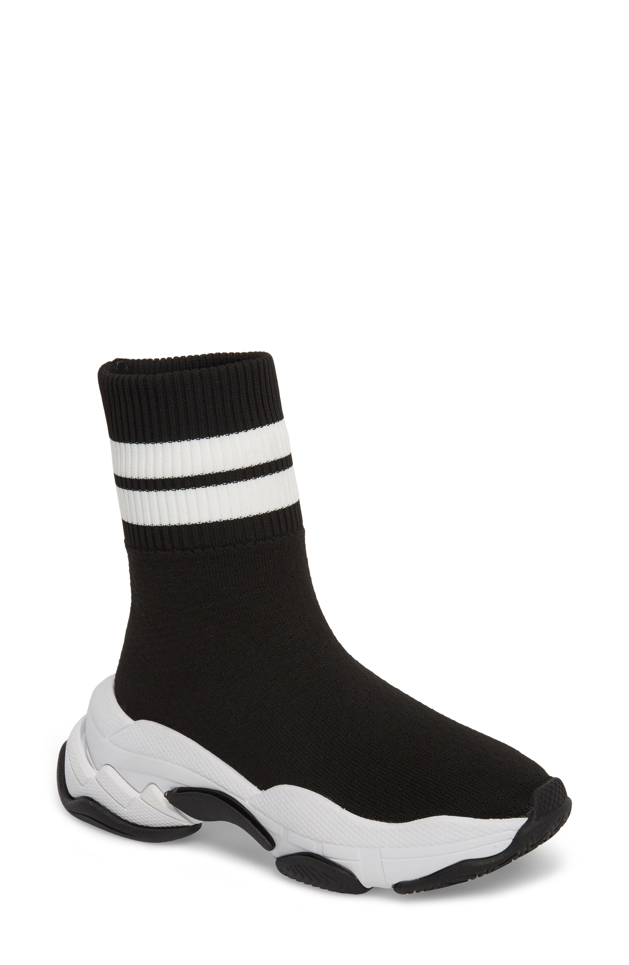 Tenko Ankle High Top Sock Sneaker,                             Main thumbnail 1, color,                             Black/ White Stripe Fabric