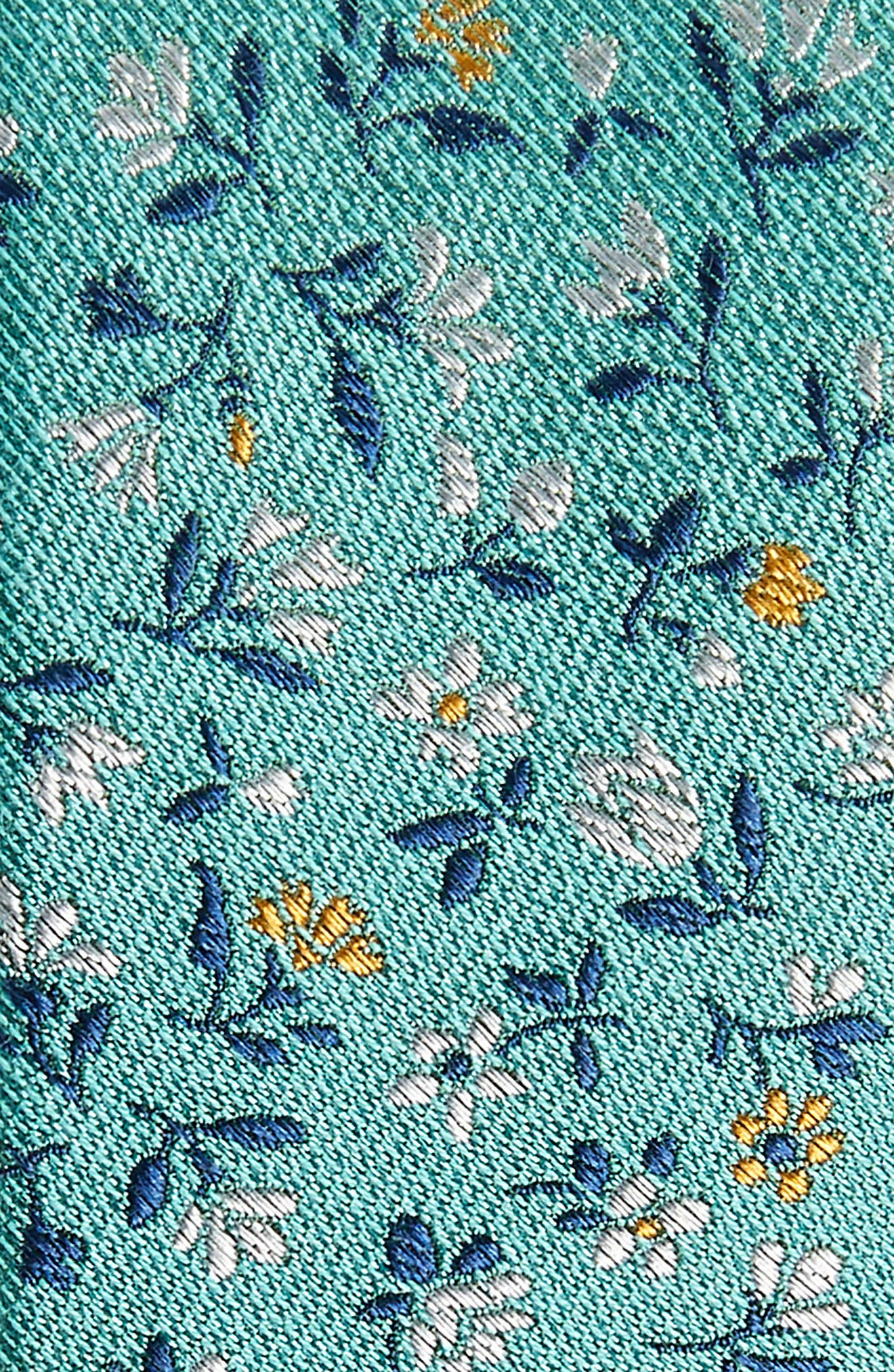 Flower Fields Silk & Cotton Tie,                             Alternate thumbnail 2, color,                             Mint