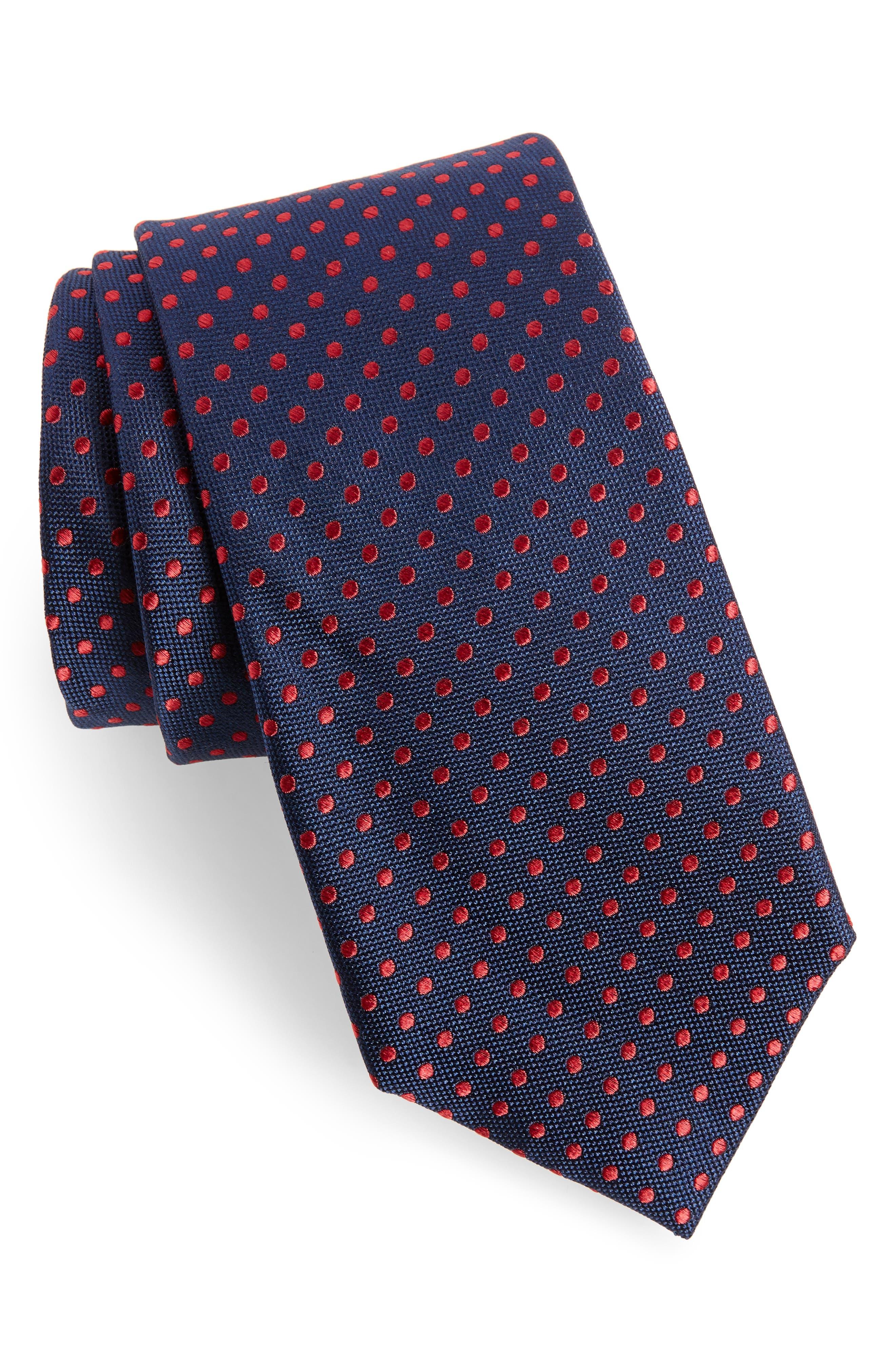 Norton Dot Silk Tie,                         Main,                         color, True Navy