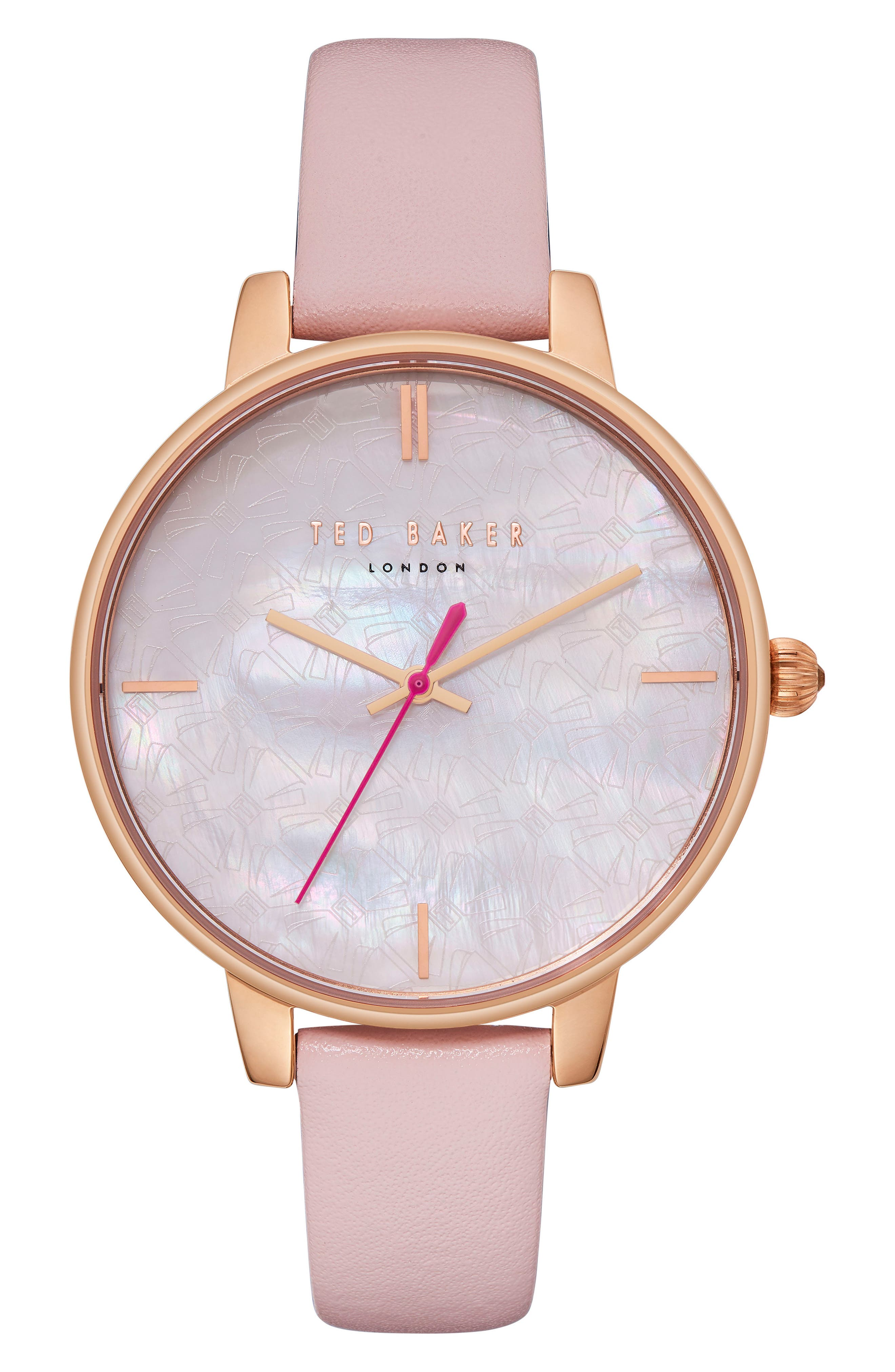 Kate Leather Strap Watch, 38mm,                         Main,                         color, Pink/ Mop/ Rose Gold