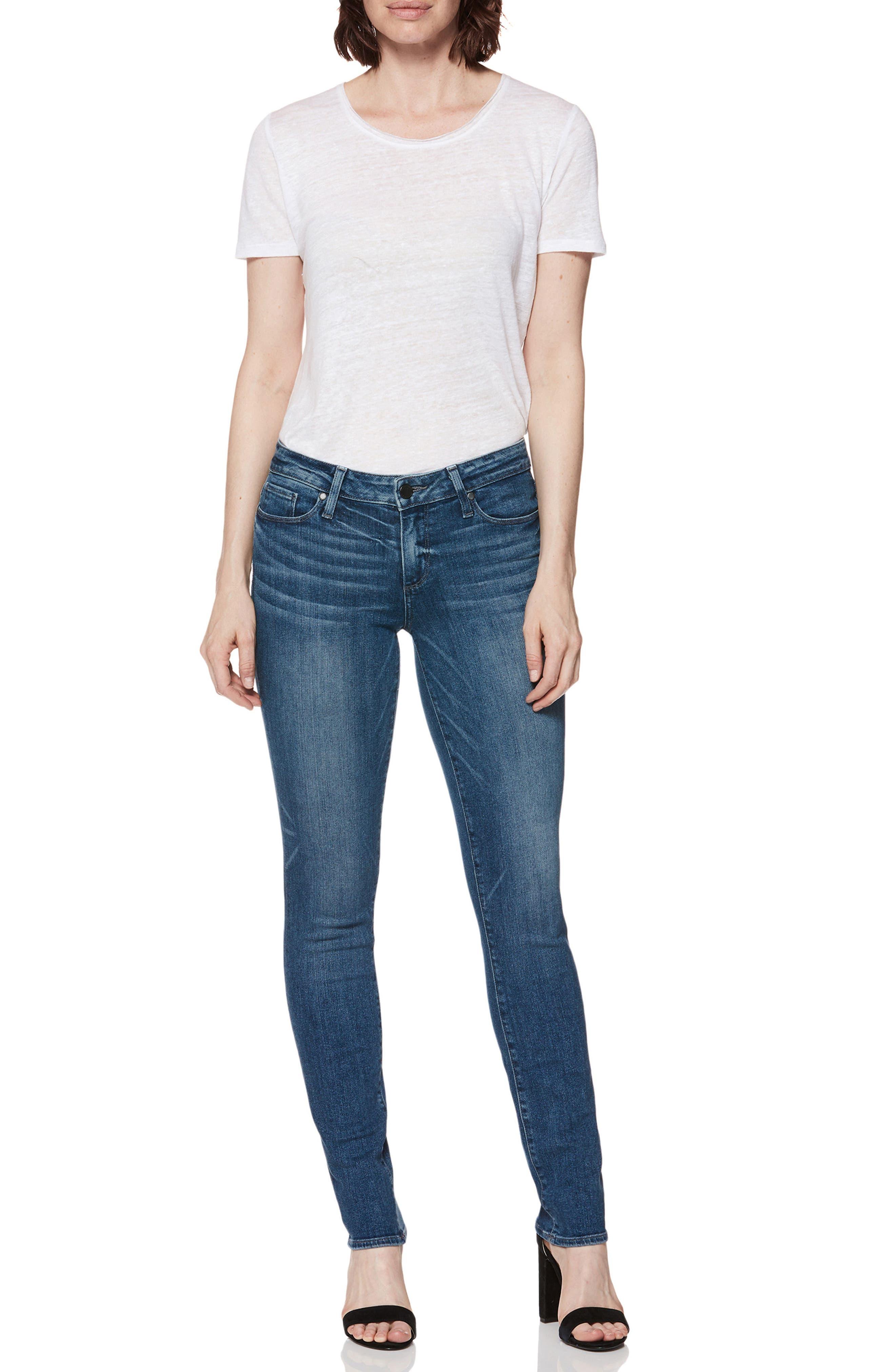 Transcend Vintage - Skyline Skinny Jeans,                             Alternate thumbnail 3, color,                             Bloomfield
