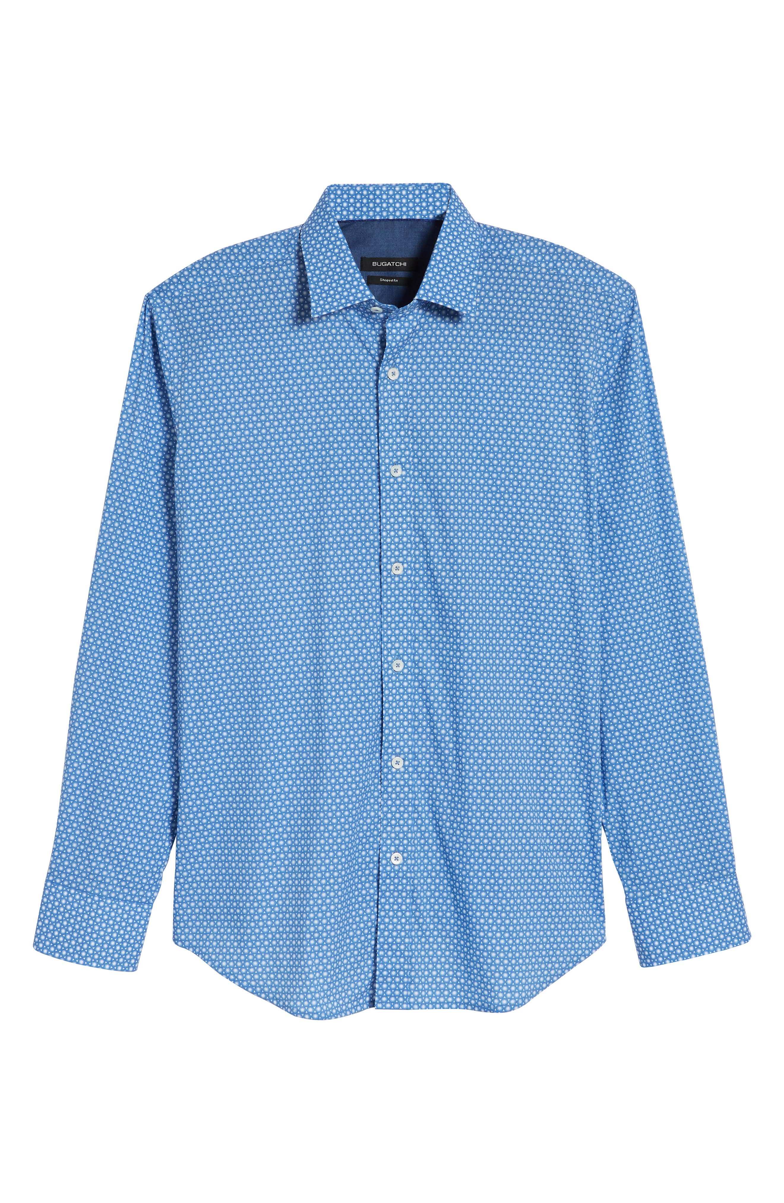 Shaped Fit Circle Print Sport Shirt,                             Alternate thumbnail 6, color,                             Classic Blue