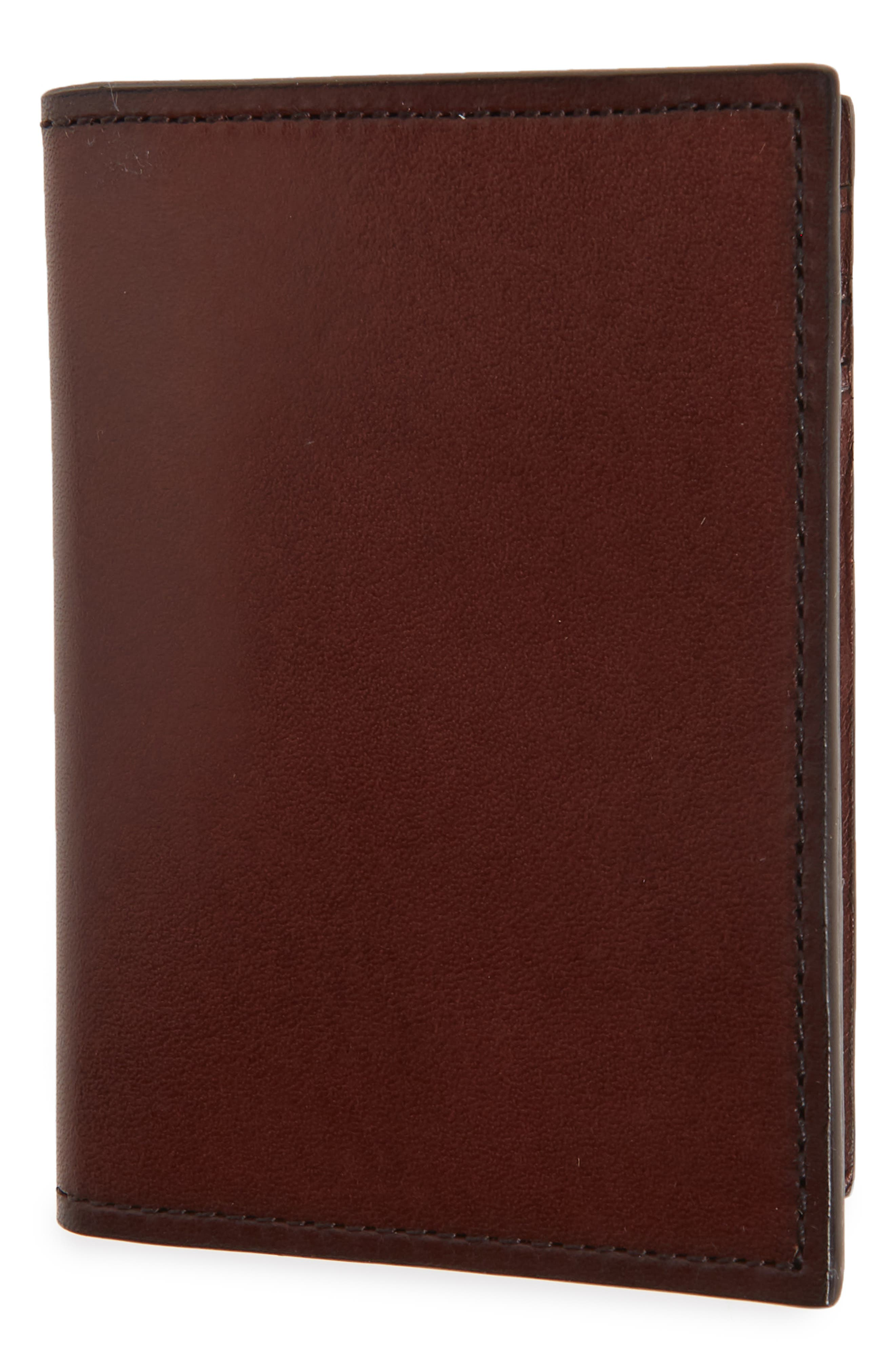 Parker Leather Bifold Card Case,                             Main thumbnail 1, color,                             Brown