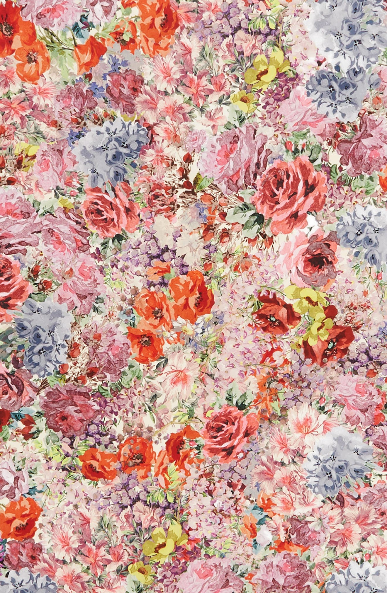 Jardin des Fleurs Square Silk Scarf,                             Alternate thumbnail 4, color,                             Fiori Multicolor/ Nero