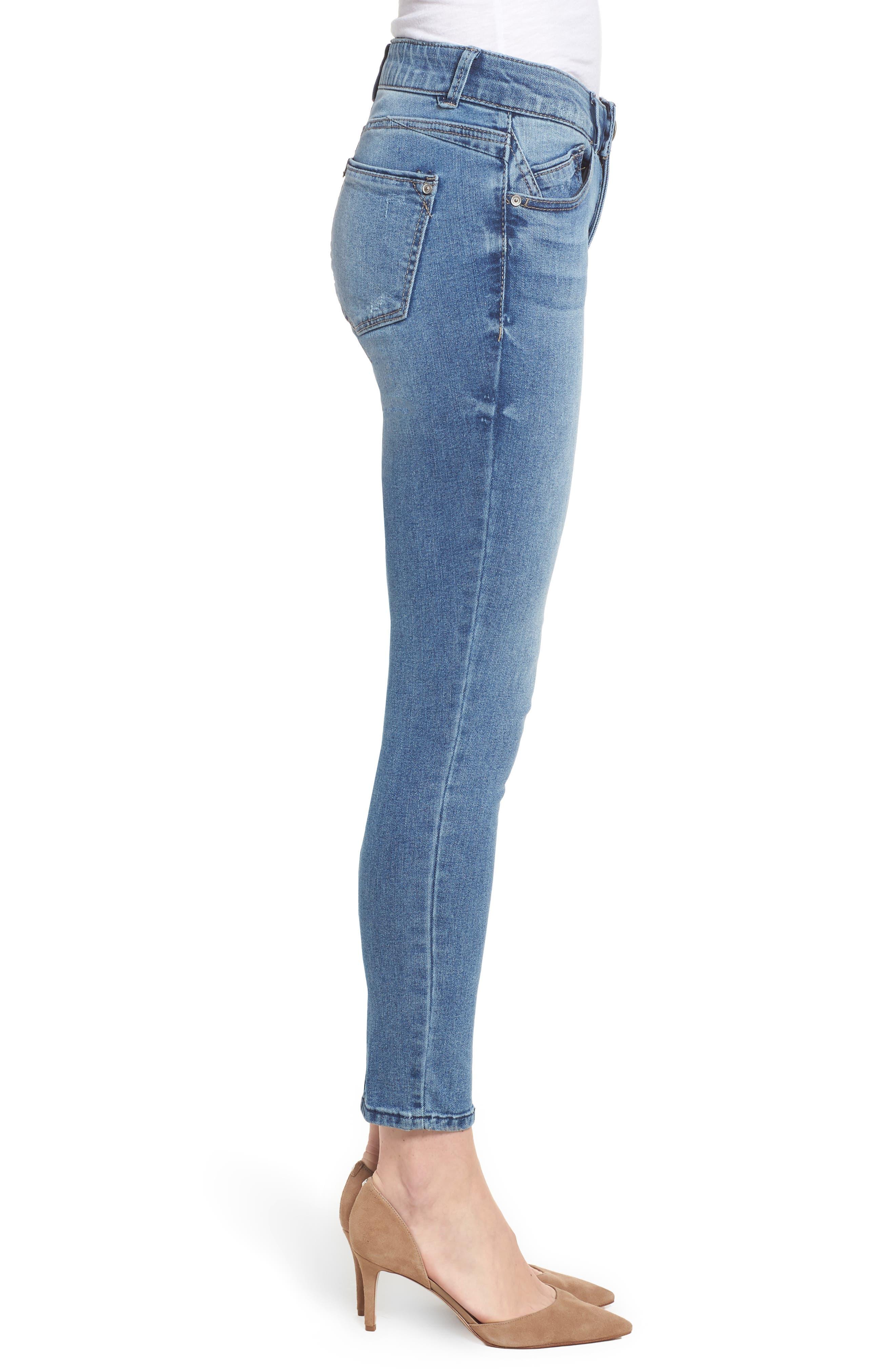 Ab-solution Ankle Skimmer Skinny Jeans Regular & Petite,                             Alternate thumbnail 3, color,                             Light Blue