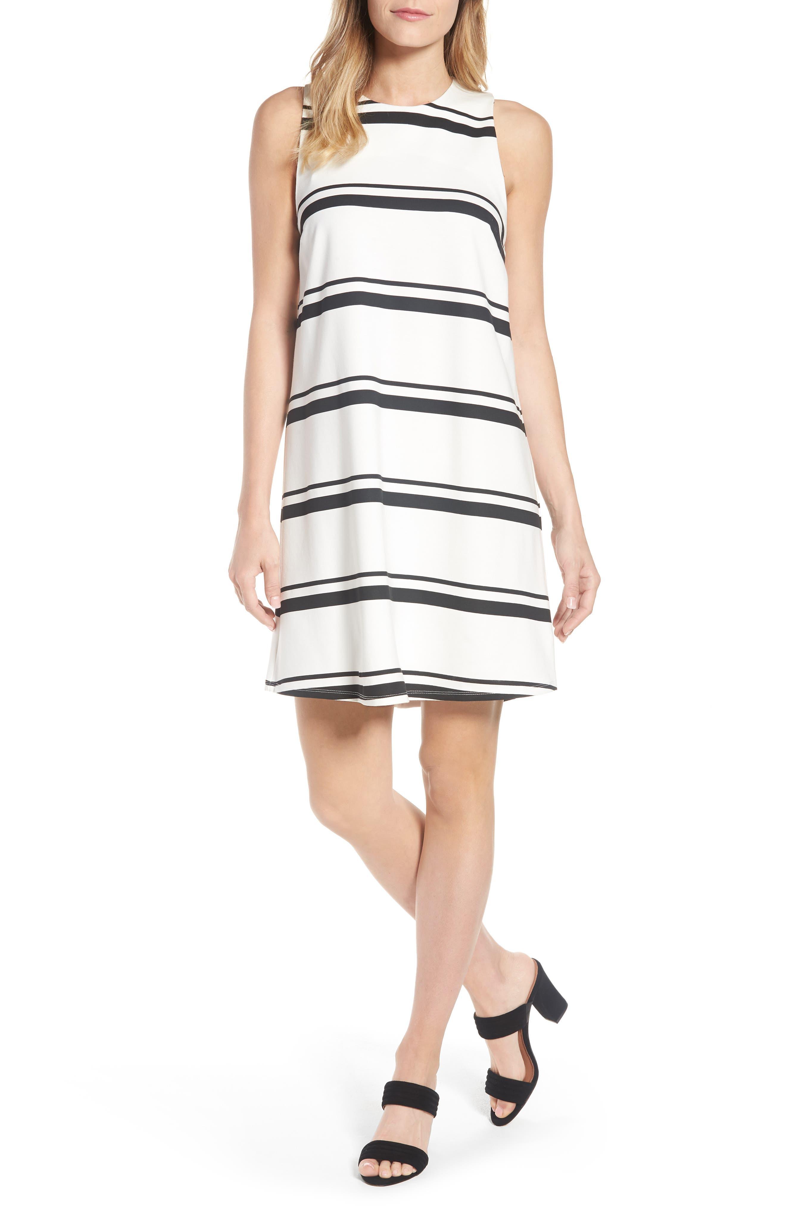 Stripe Swing Dress,                         Main,                         color, Warm White Black