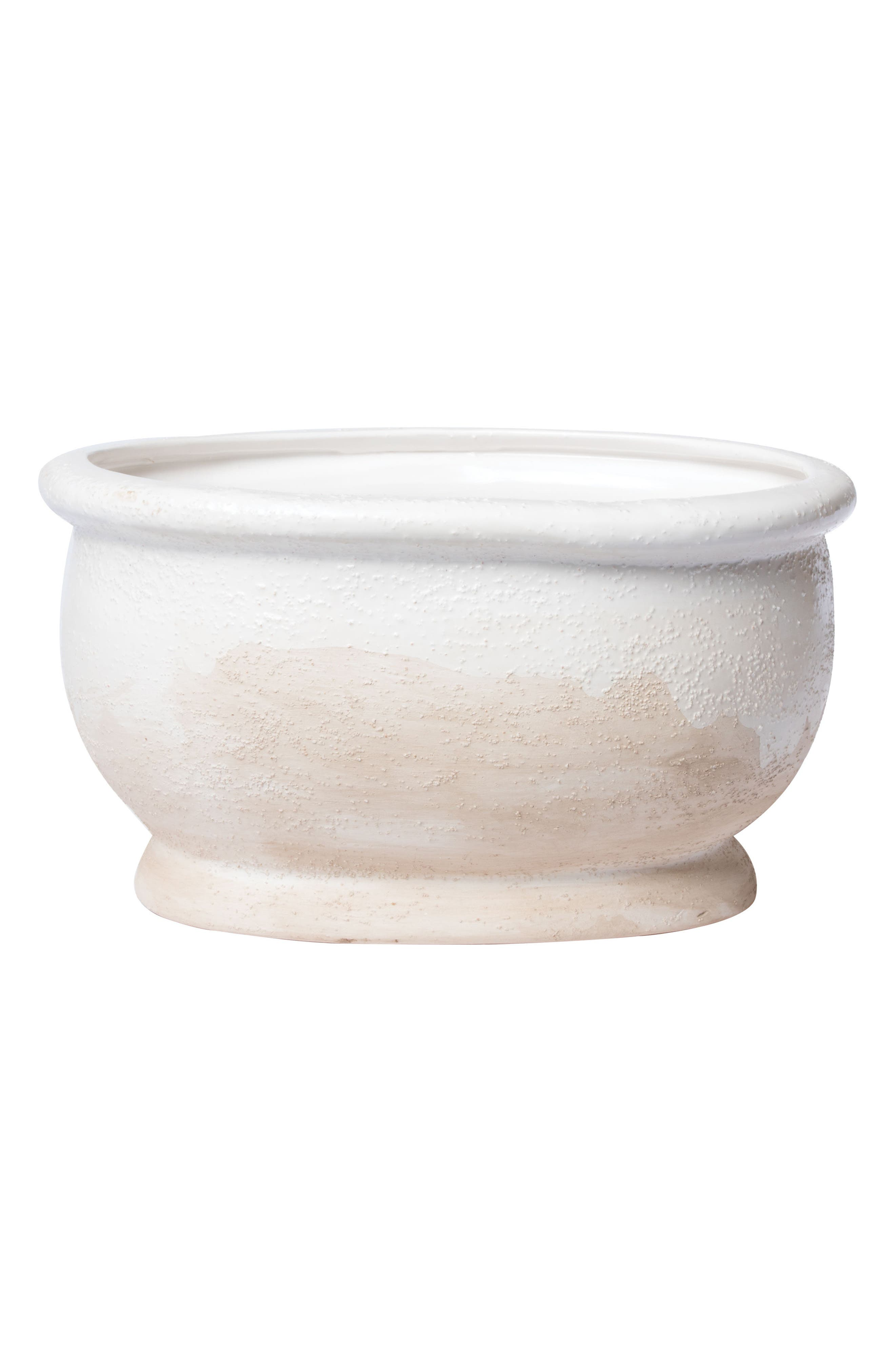 Tuscan Texture Oval Cachepot,                             Main thumbnail 1, color,                             White