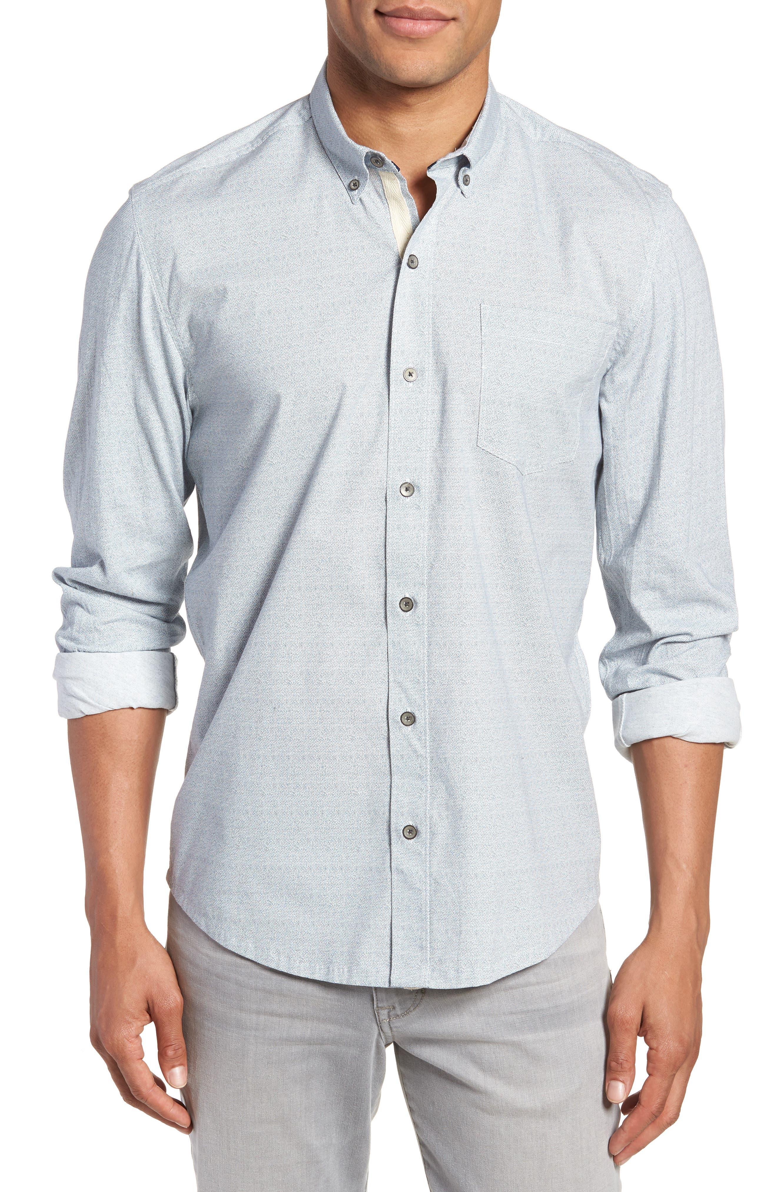 Reworked Slim Fit Speckled Sport Shirt,                         Main,                         color, Blue