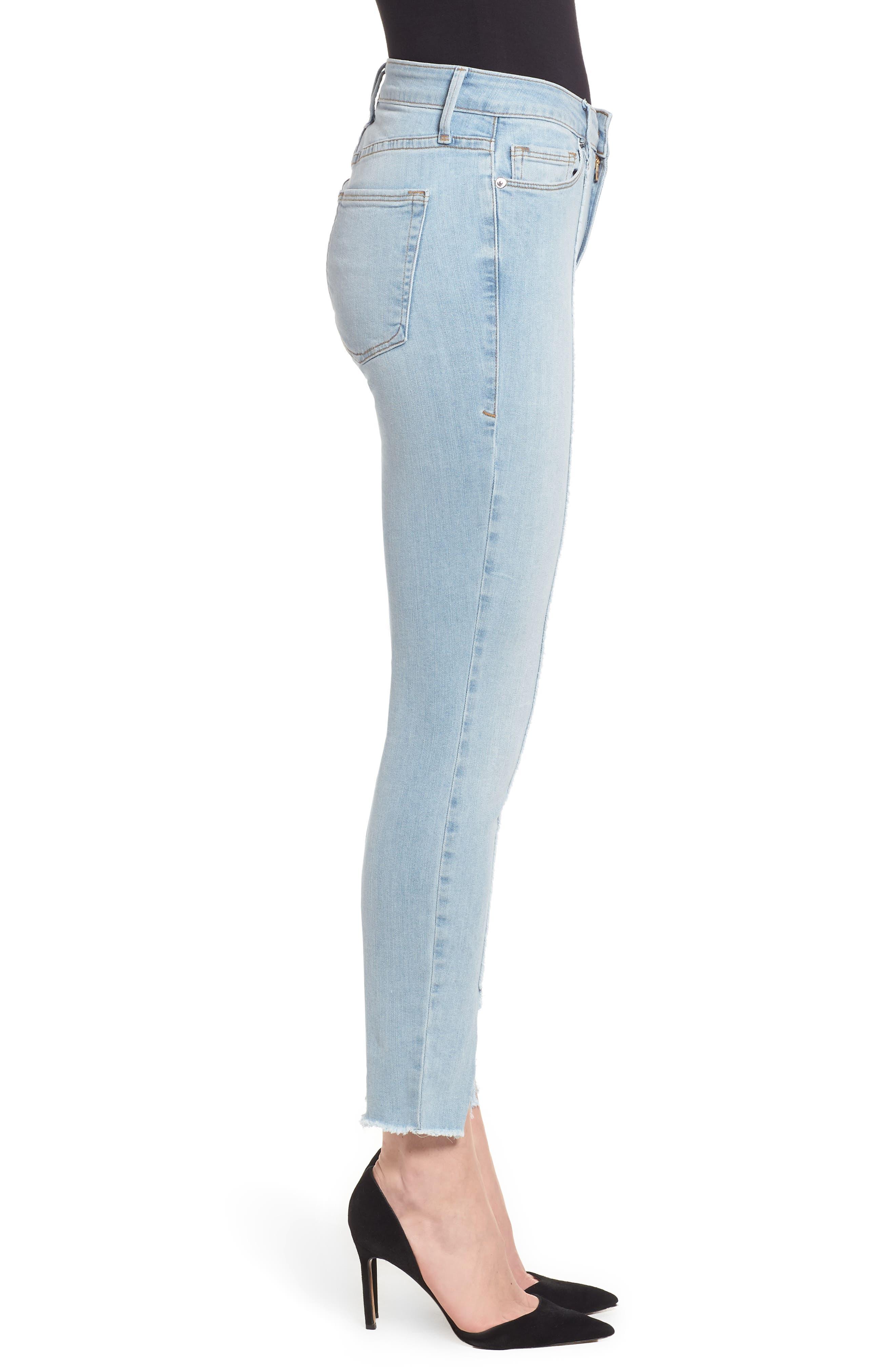 Good Legs High Waist Raw Seam Crop Skinny Jeans,                             Alternate thumbnail 3, color,                             Blue136