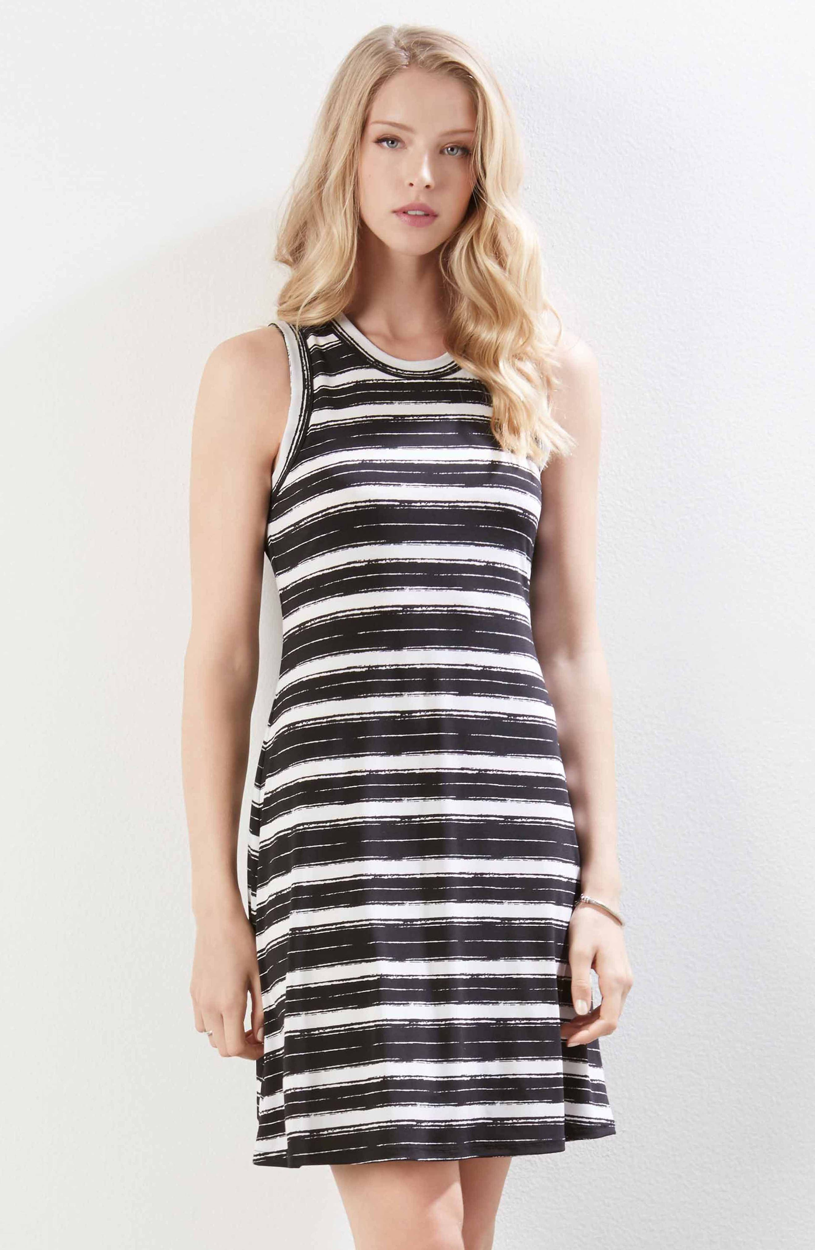 Stripe Fit and Flare Dress,                             Alternate thumbnail 4, color,                             Stripe