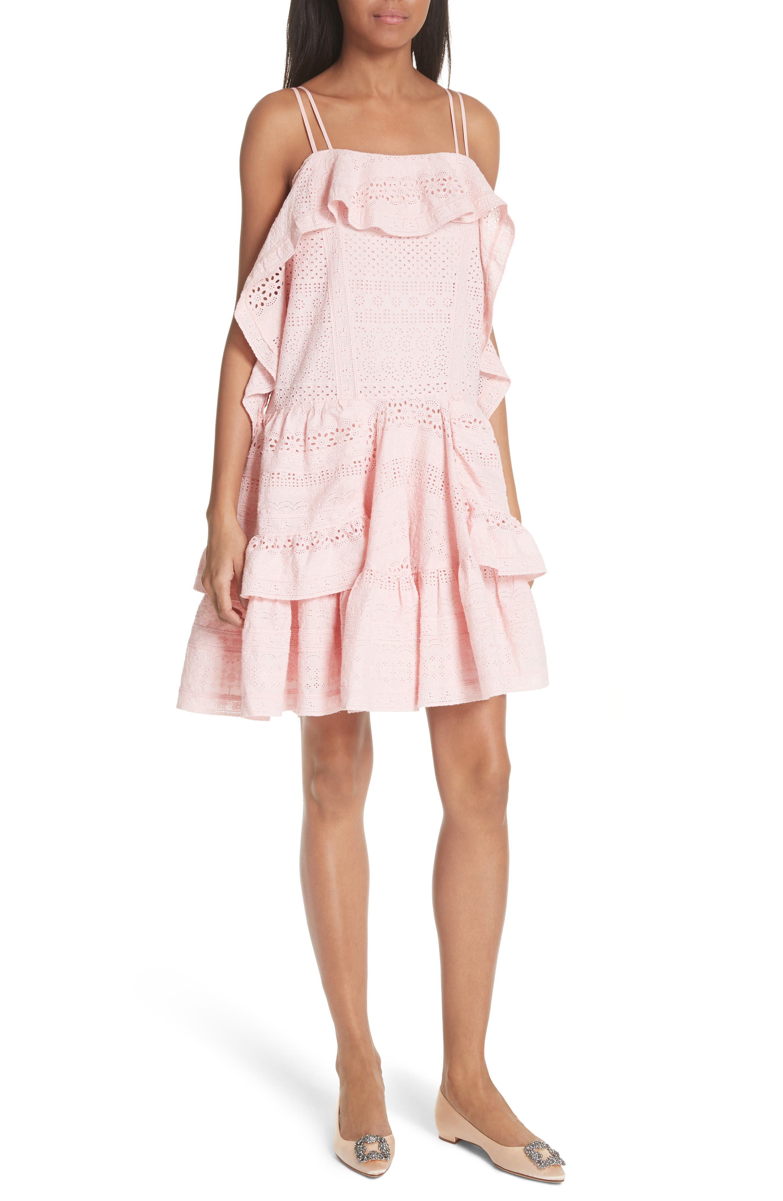 Deconstructed Broderie Dress,                         Main,                         color, Pink