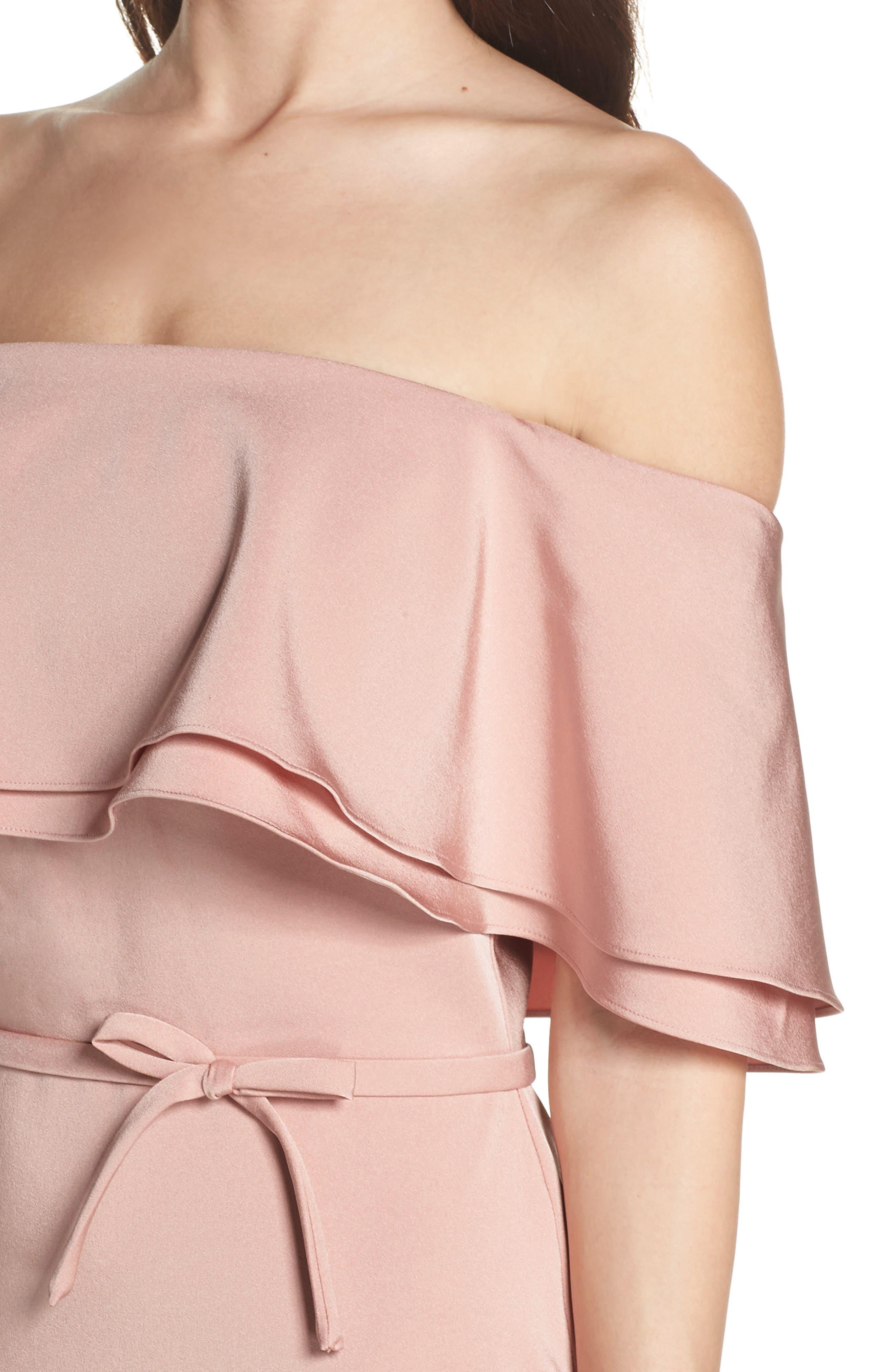 Ruffle Off the Shoulder Tea Length Dress,                             Alternate thumbnail 4, color,                             Rose