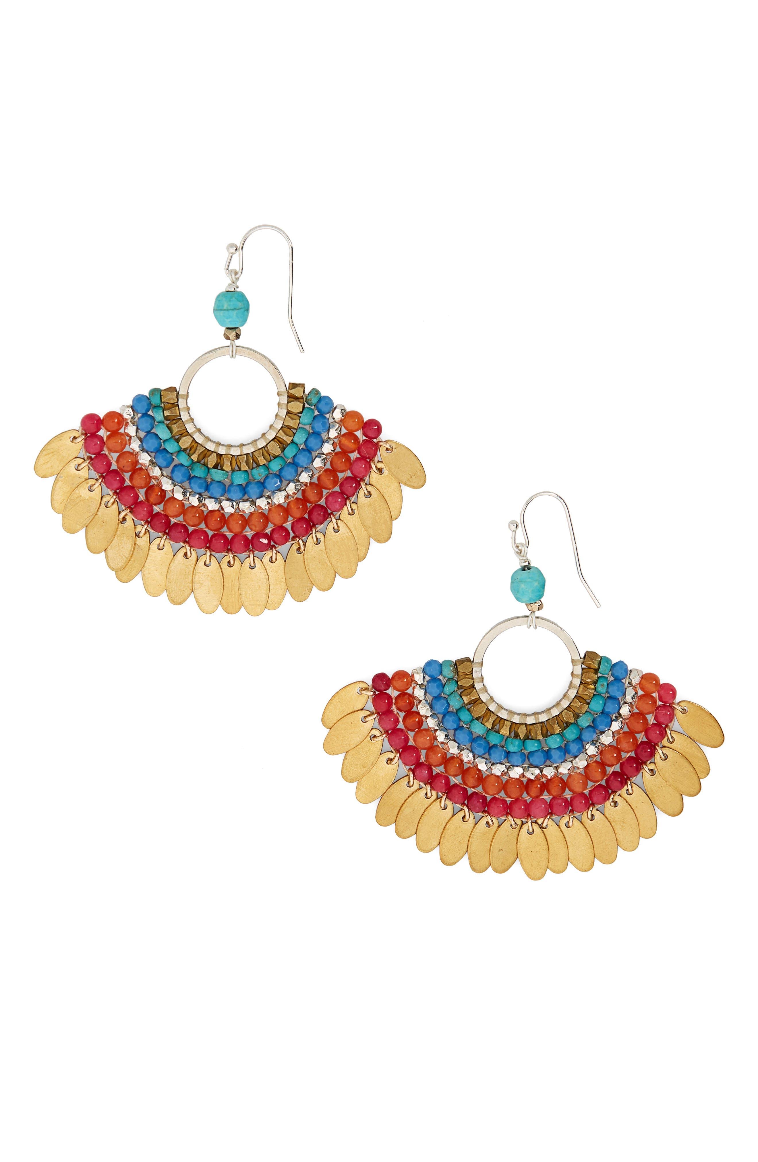 Fan Earrings,                         Main,                         color, Multi