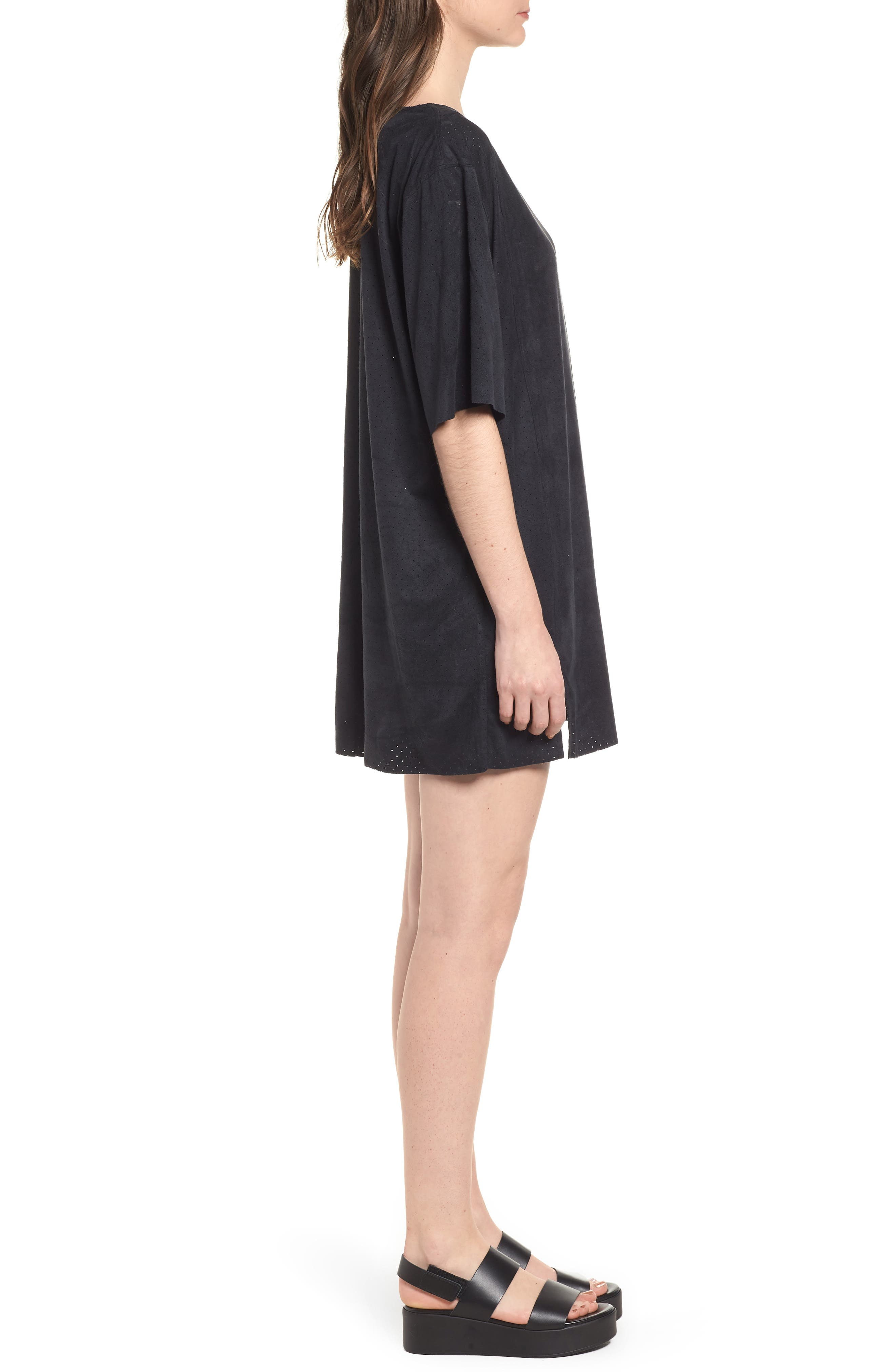 4 the Win Perforated Faux Suede Dress,                             Alternate thumbnail 3, color,                             Black