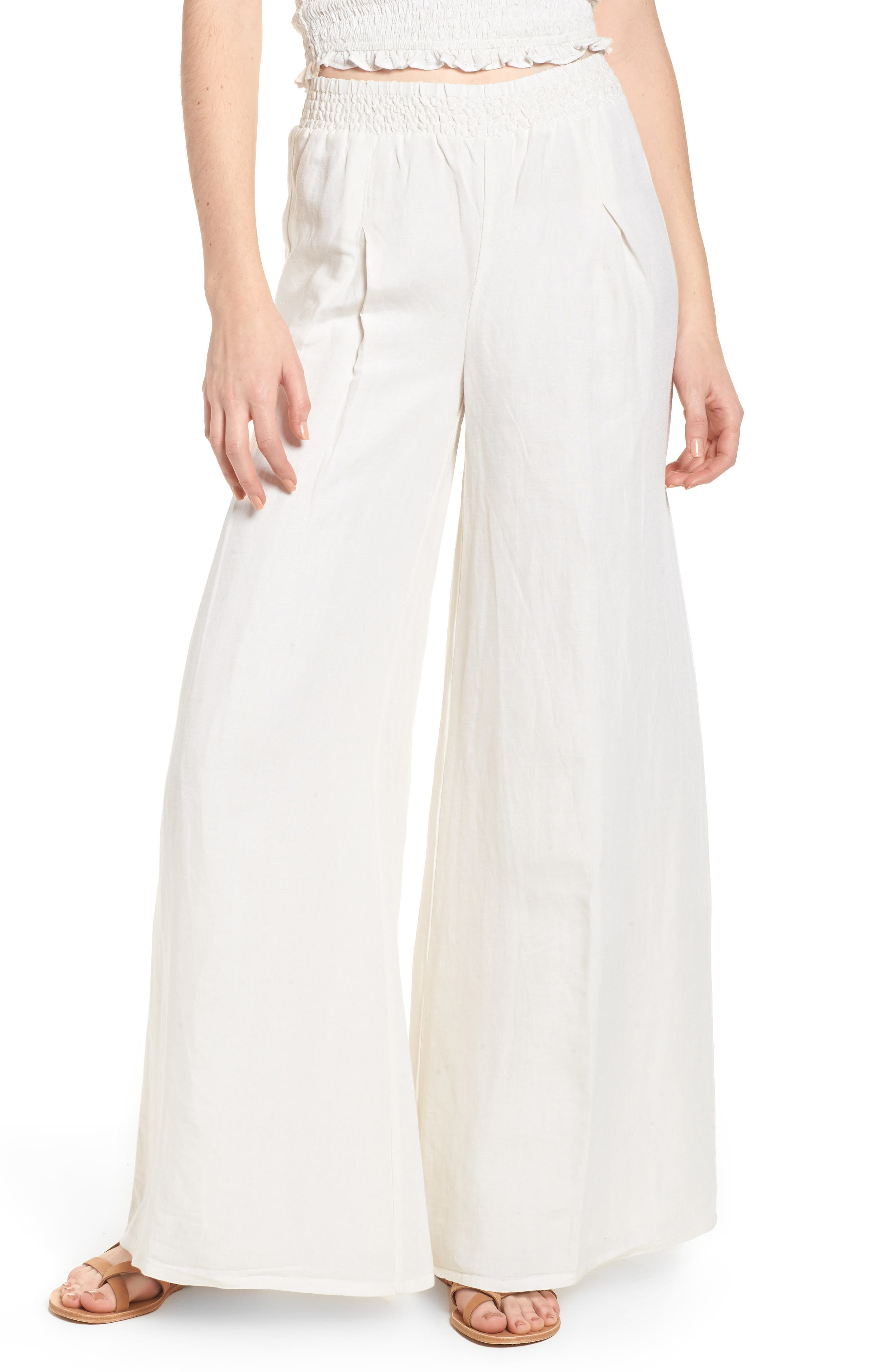 High Roads Smocked Wide Leg Pants,                         Main,                         color, Cool Whip