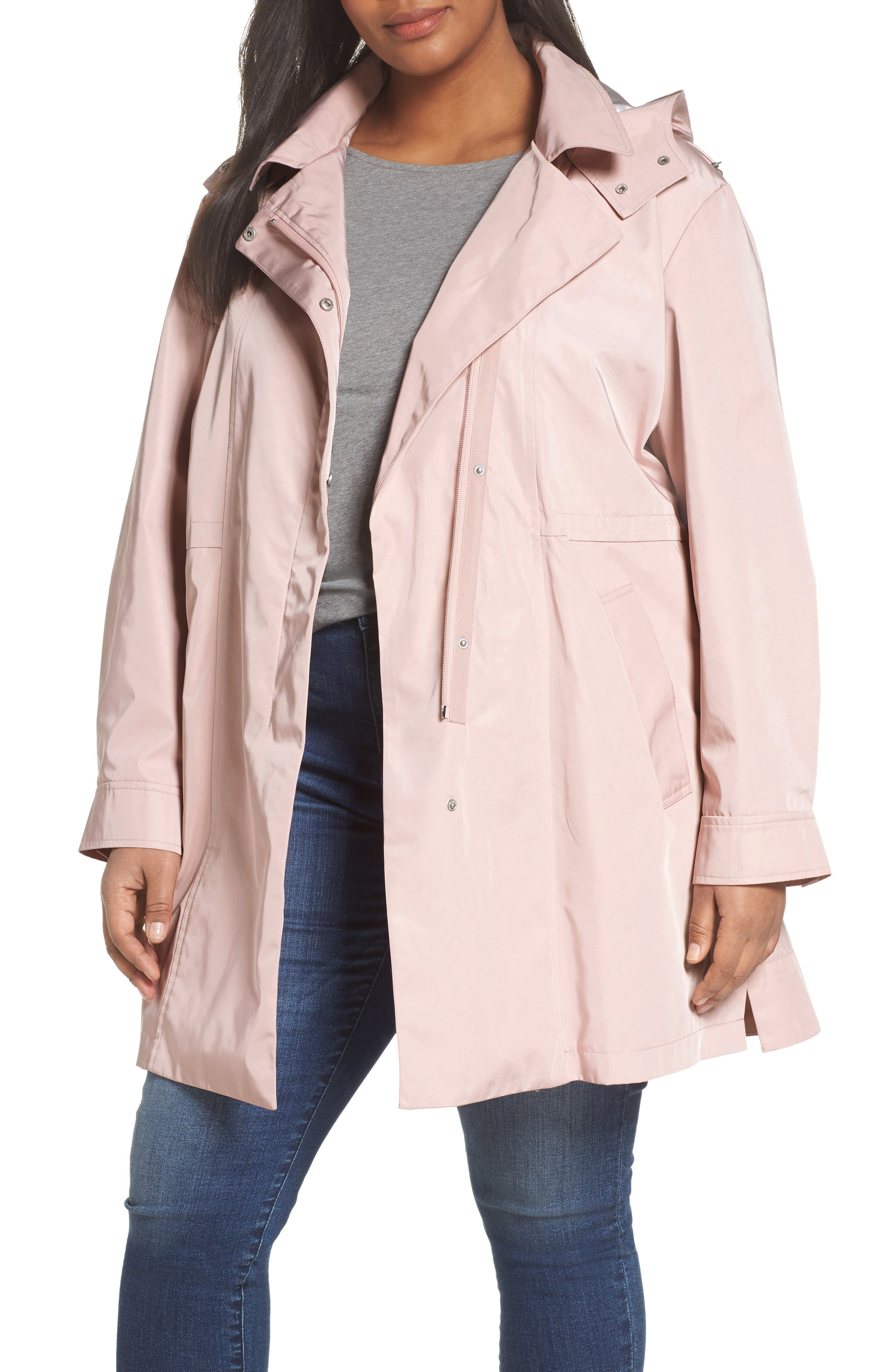 Tech Hooded Trench Coat,                             Main thumbnail 1, color,                             Misty Rose