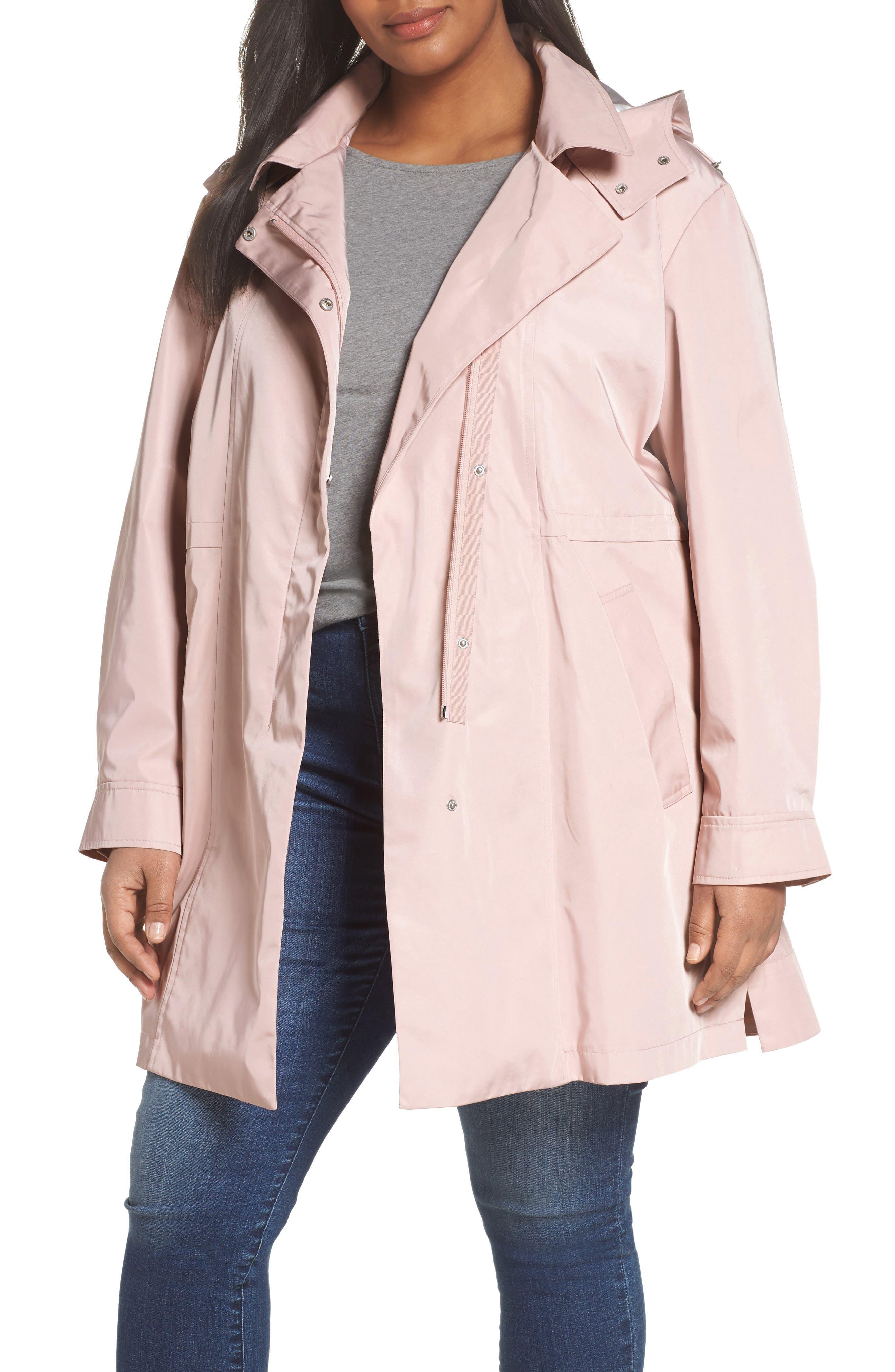 Main Image - Kristen Blake Tech Hooded Trench Coat (Plus Size)