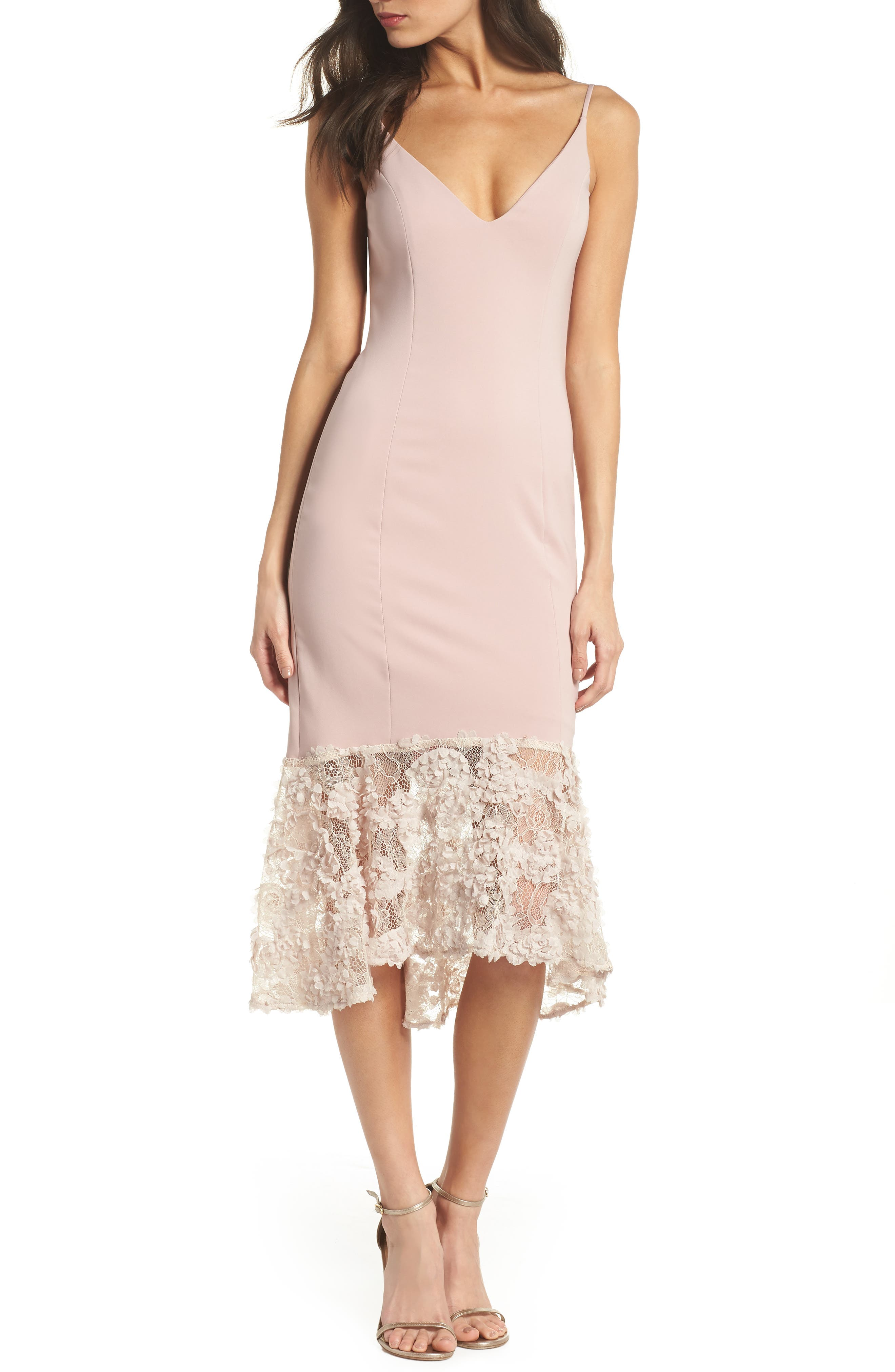 Milly Lace Flounce Slipdress,                         Main,                         color, Blush