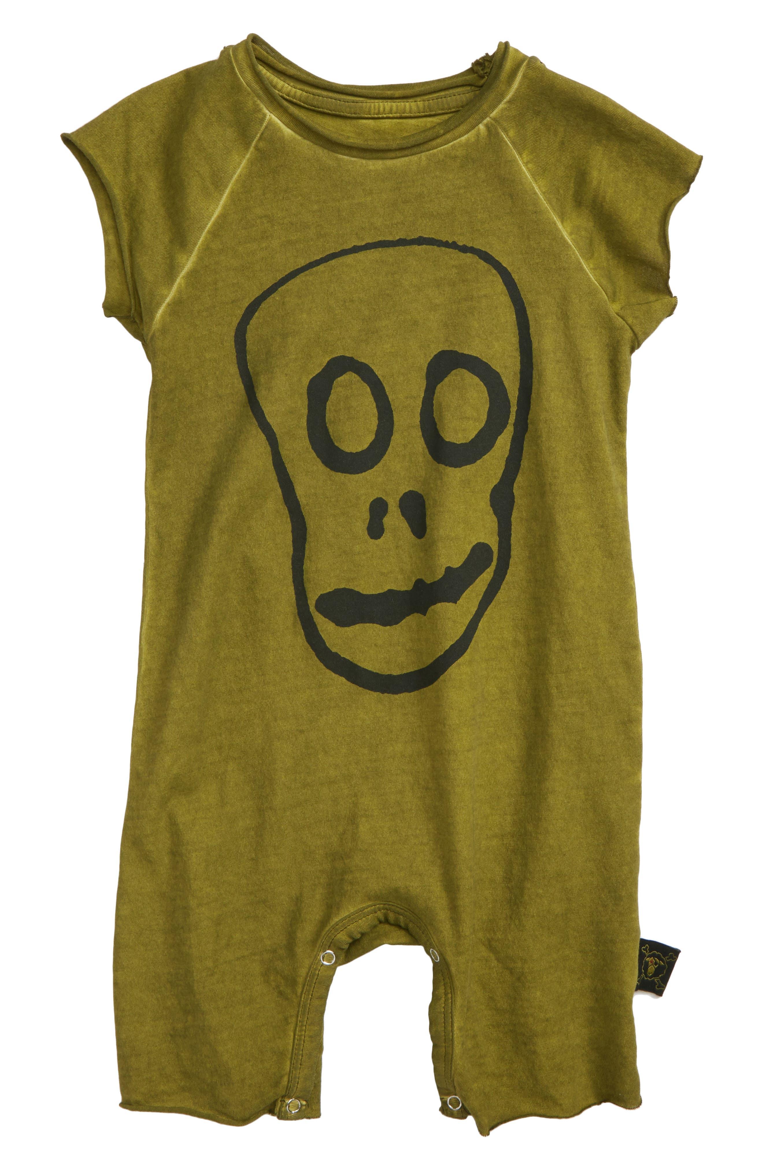 Skull Mask Romper,                         Main,                         color, Rusty Green