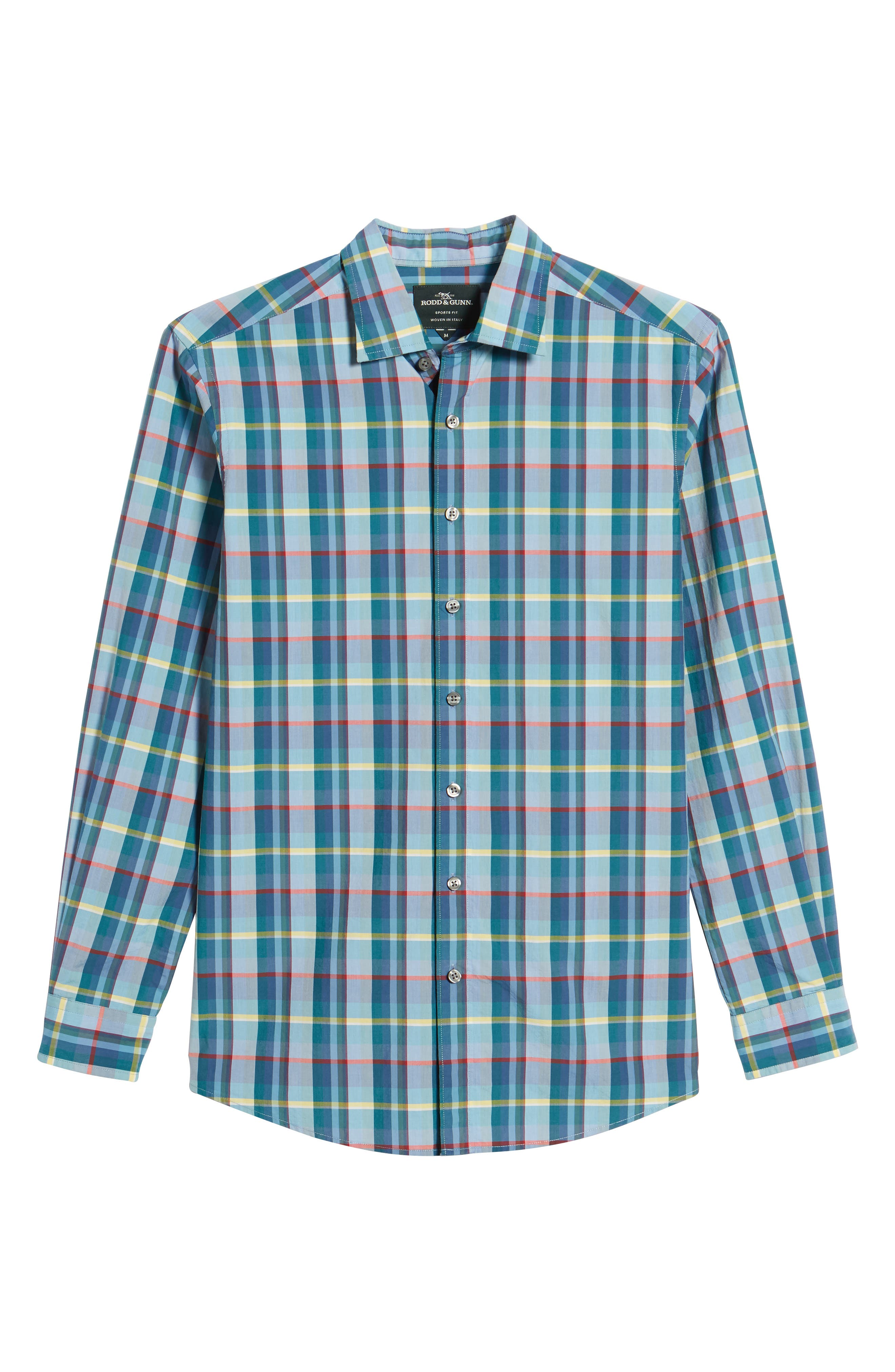 Stockyard Bay Sports Fit Plaid Sport Shirt,                             Alternate thumbnail 6, color,                             Forest