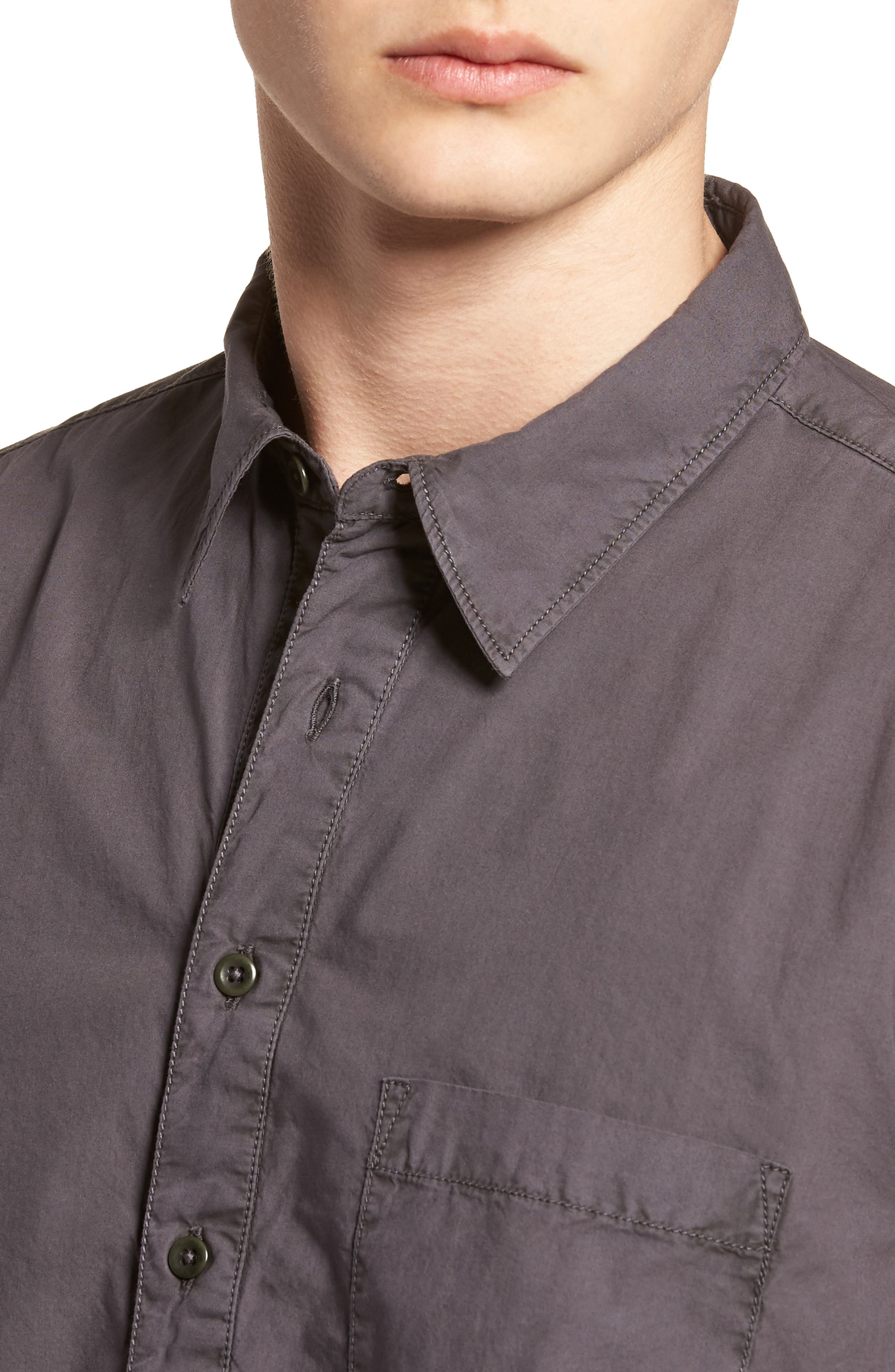 Regular Fit Garment Dyed Poplin Sport Shirt,                             Alternate thumbnail 4, color,                             Workwear Grey