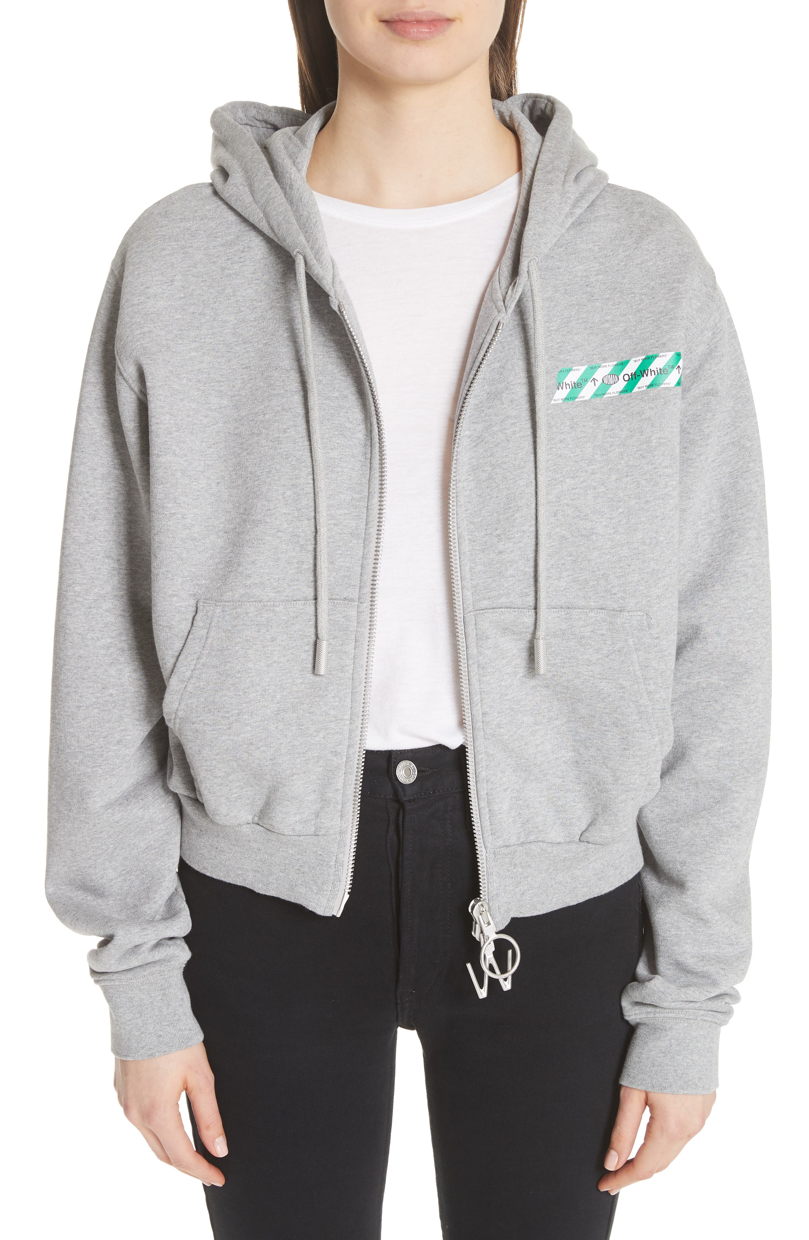 Off-White Tape Crop Zip Hoodie