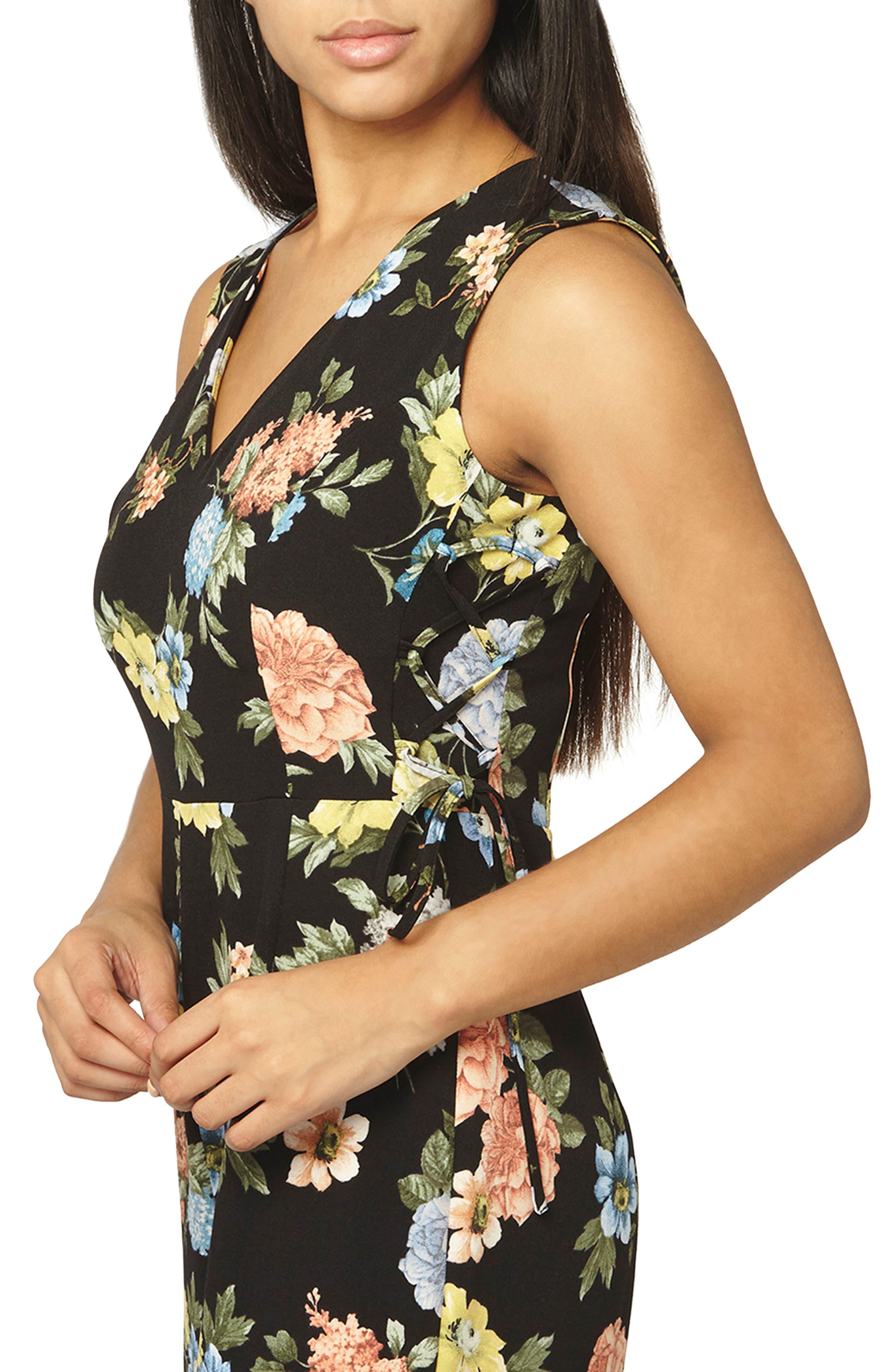 Floral Lace-Up Jumpsuit,                             Alternate thumbnail 3, color,                             Black