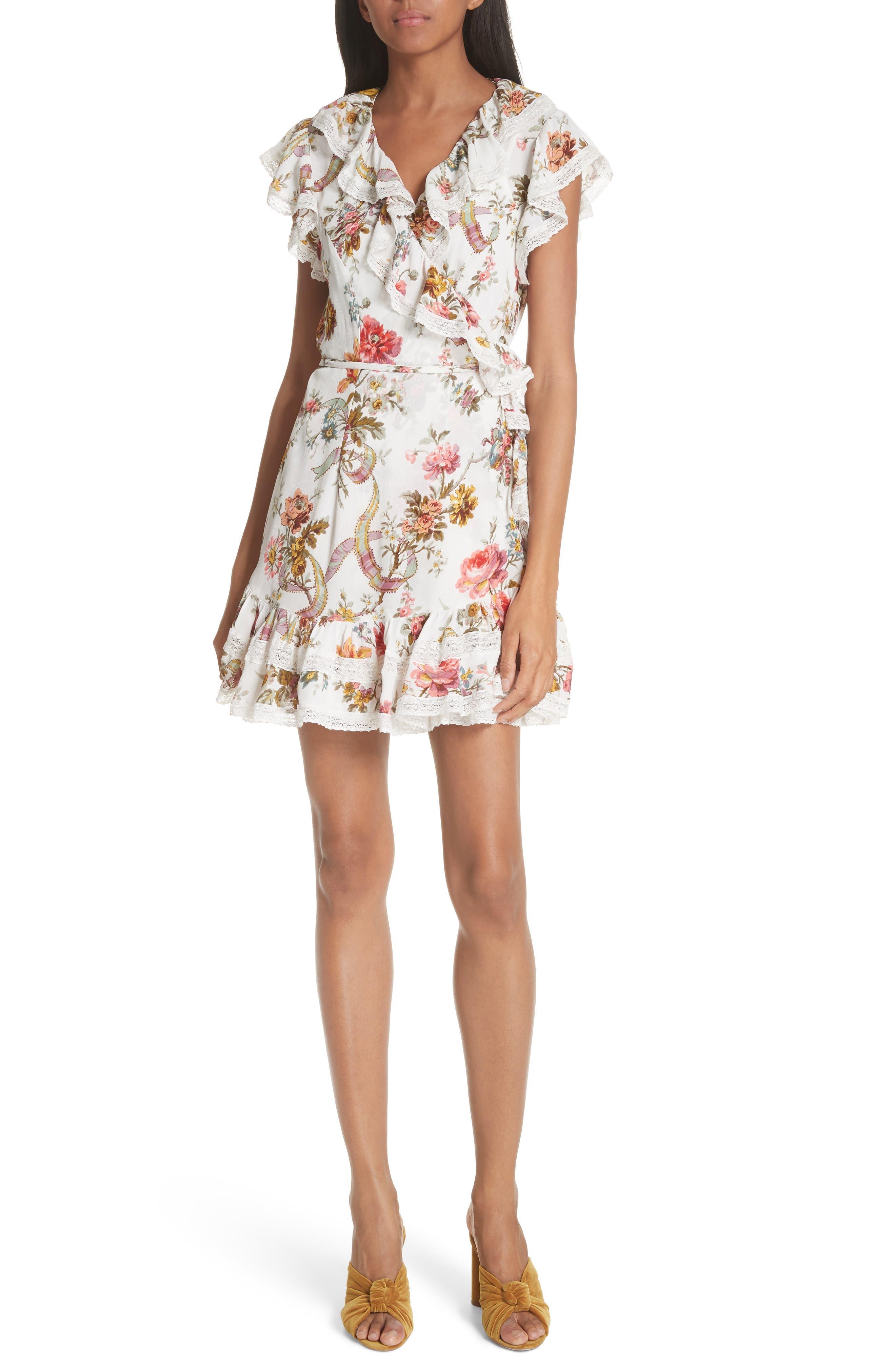 Rainbow Rose Wrap Dress,                             Main thumbnail 1, color,                             Ivory