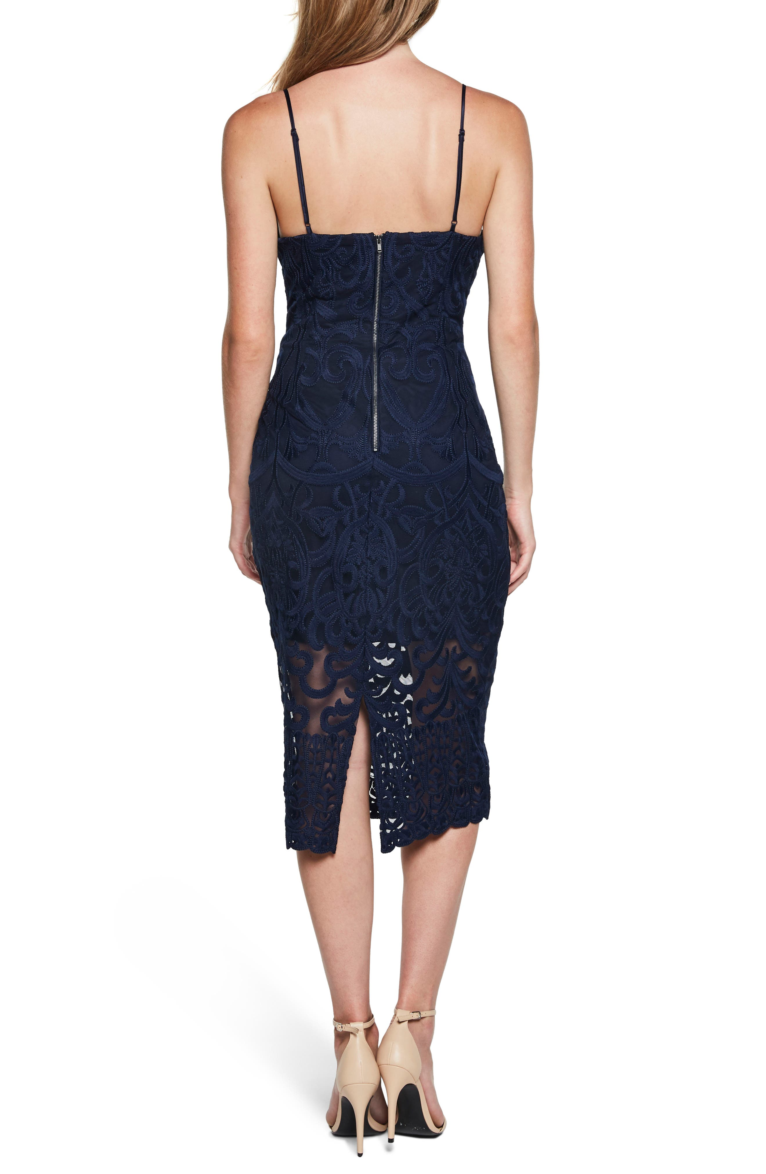 Gia Lace Pencil Dress,                             Alternate thumbnail 2, color,                             Navy