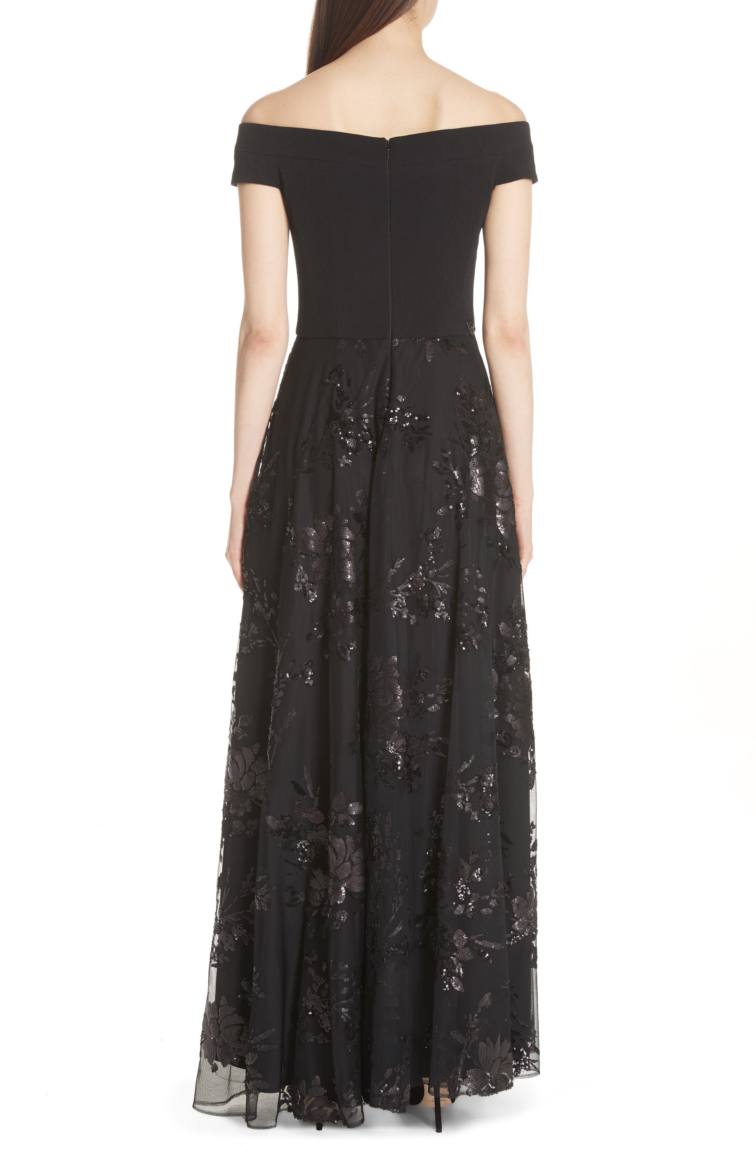Carmen Marc Valvo Off the Shoulder Gown,                             Alternate thumbnail 2, color,                             Black/ Black