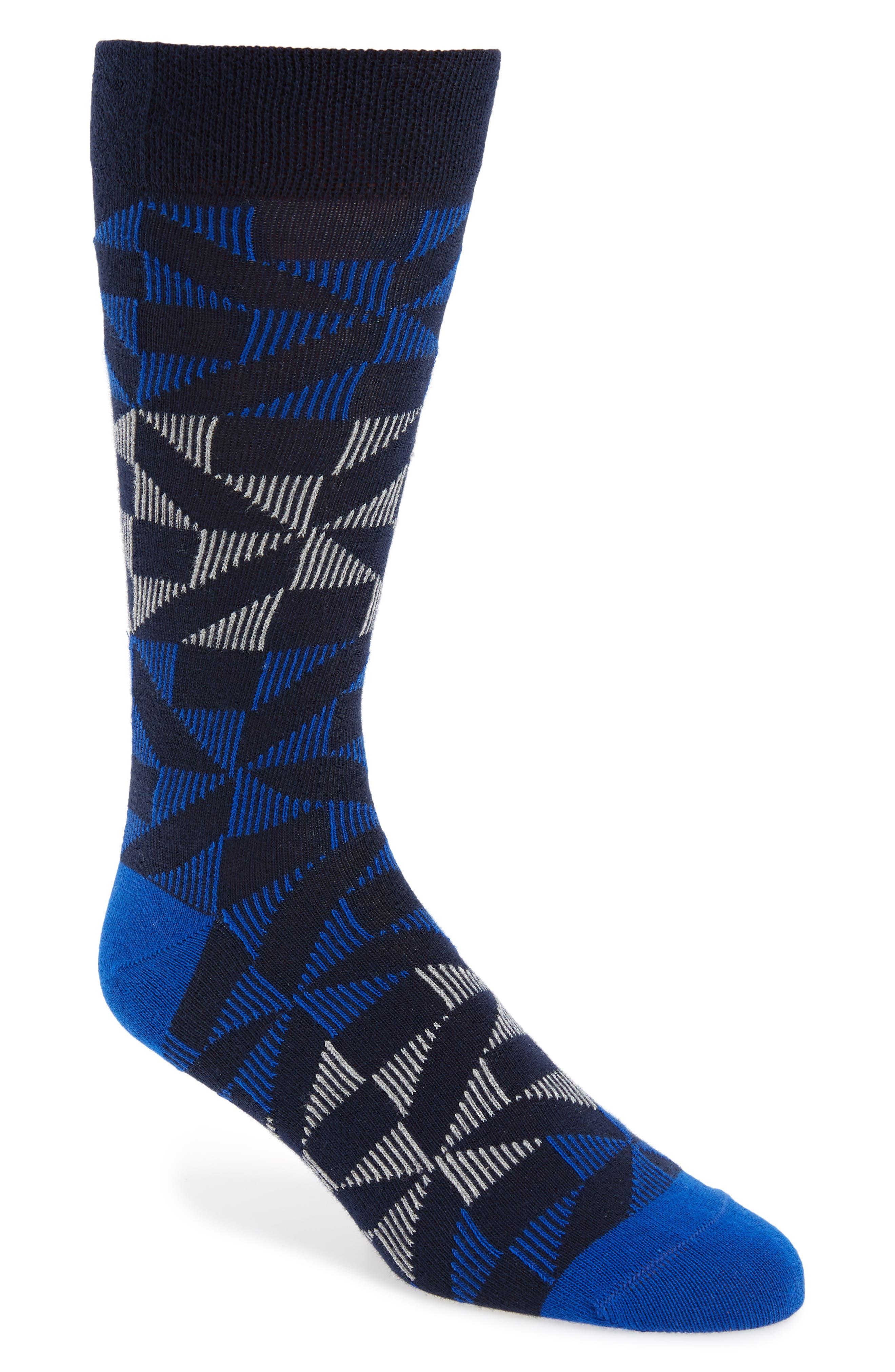 Newhome Geometric Socks,                         Main,                         color, Blue