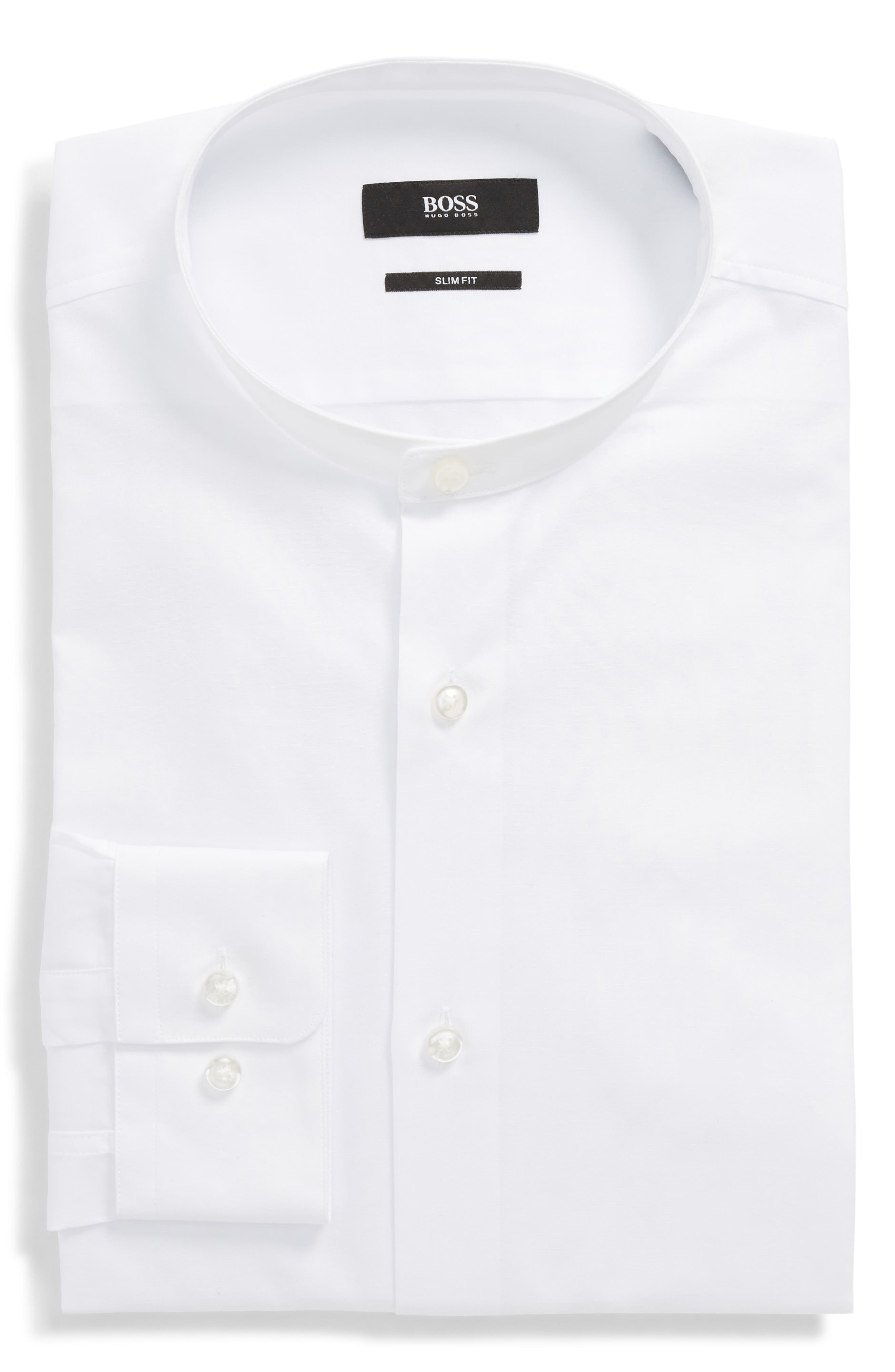 Jordi Slim Fit Solid Band Collar Dress Shirt,                             Main thumbnail 1, color,                             White