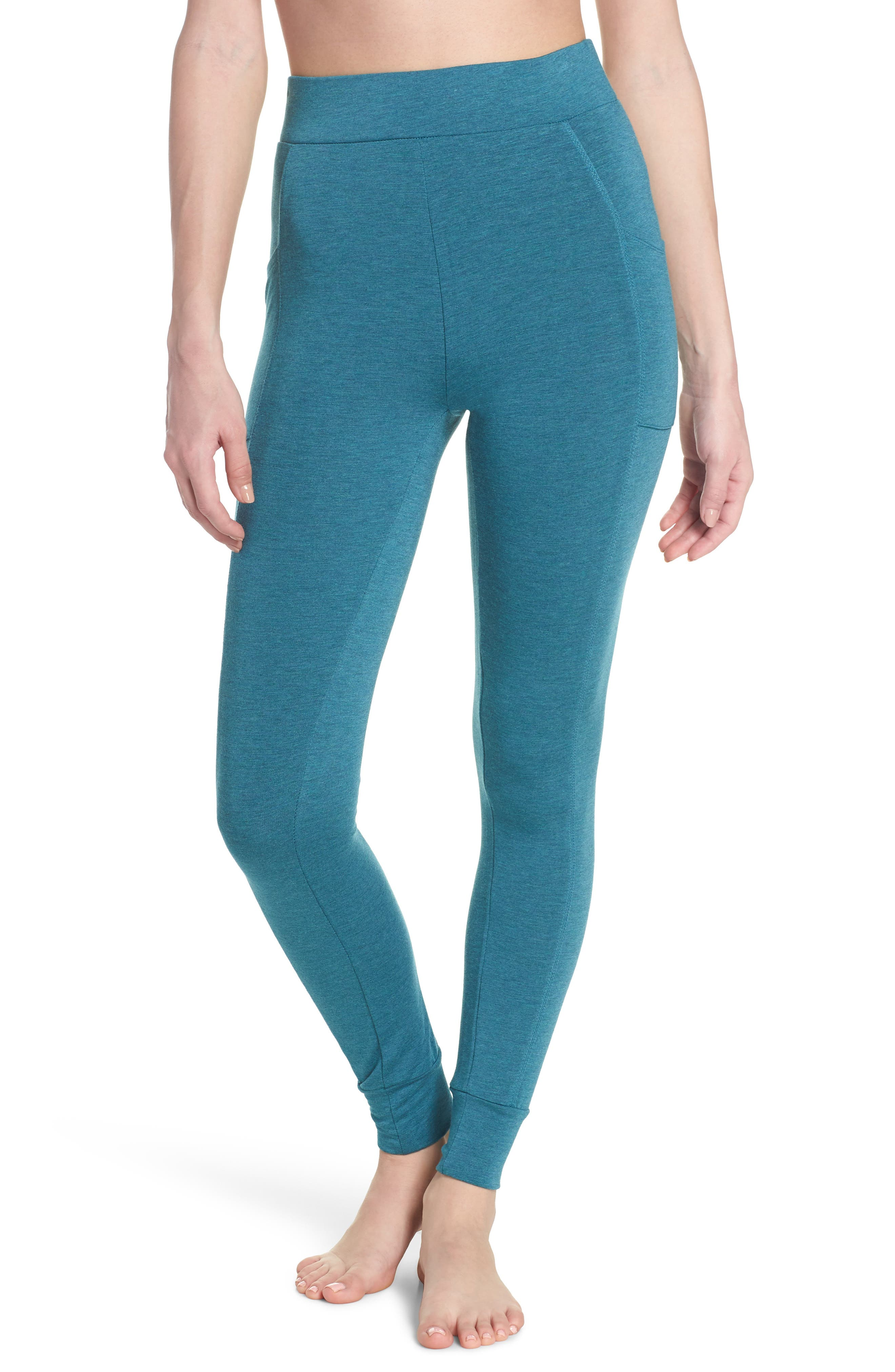 Kickin' It French Terry High Waist Lounge Leggings,                             Main thumbnail 1, color,                             Love Fern