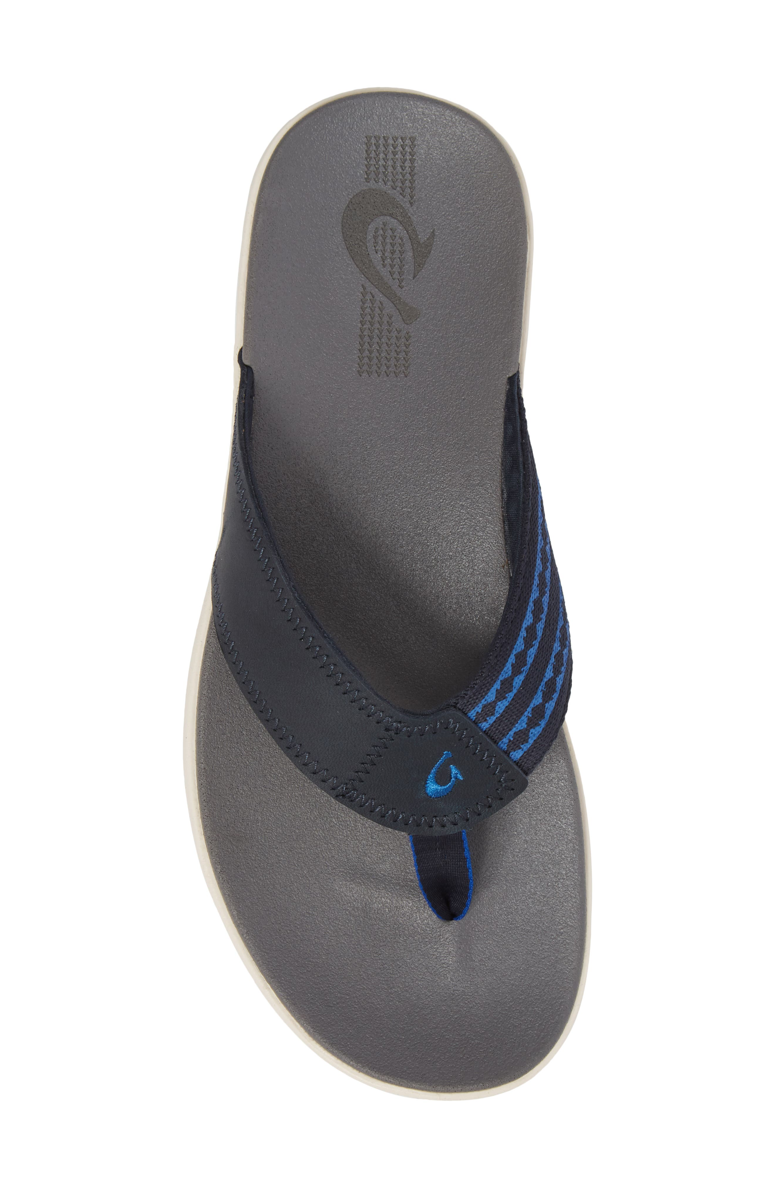 Kinona Flip Flop,                             Alternate thumbnail 5, color,                             Trench Blue/ Charcoal Leather